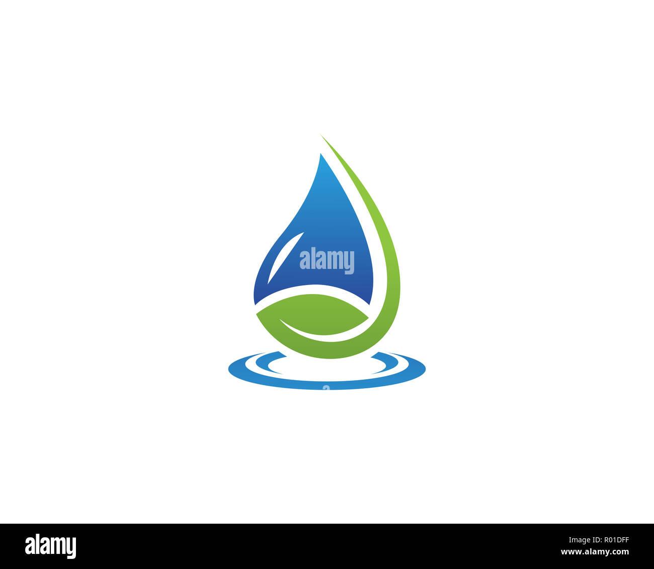 Water drops logo vector - Stock Image