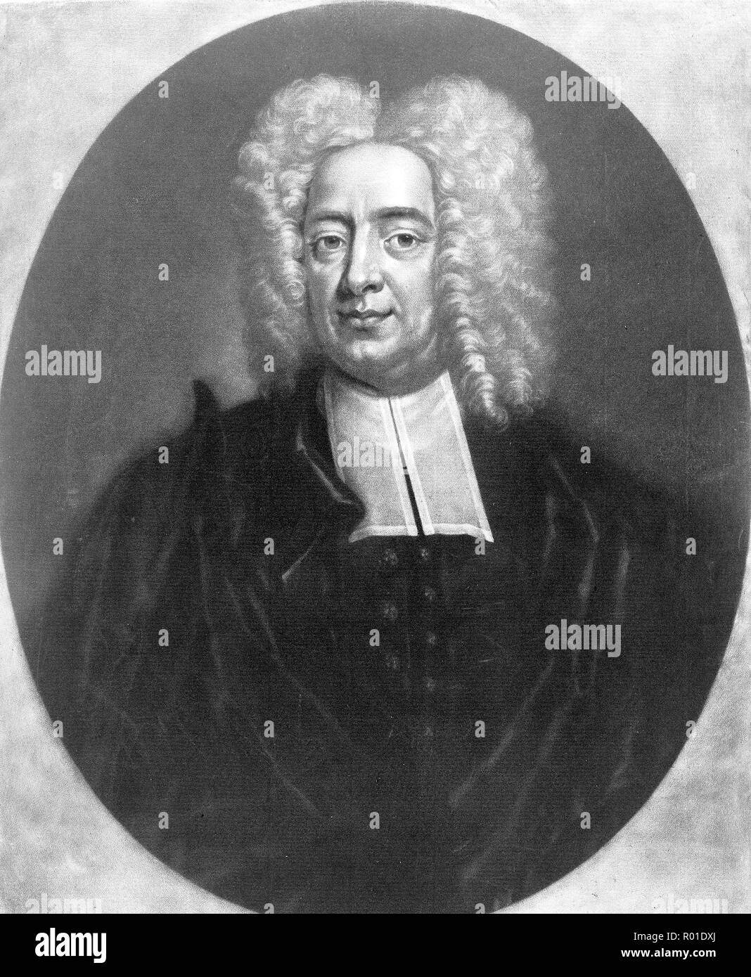 Cotton Mather, Cotton Mather (1663 – 1728) socially and politically influential Puritan minister and author - Stock Image