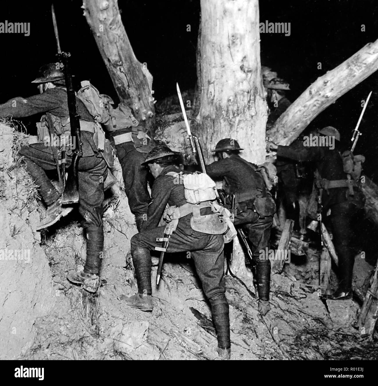 A night raid into no-mans-land near Messines during the First World War - Stock Image