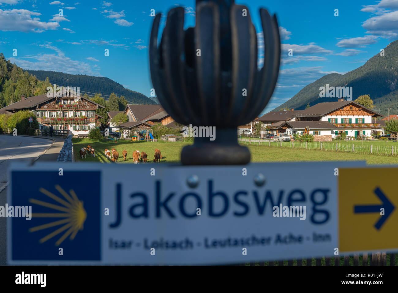 Jakobsweg, pilgrim´s way or Road to Santiago, Wallgau, Bavaria, Germany, - Stock Image