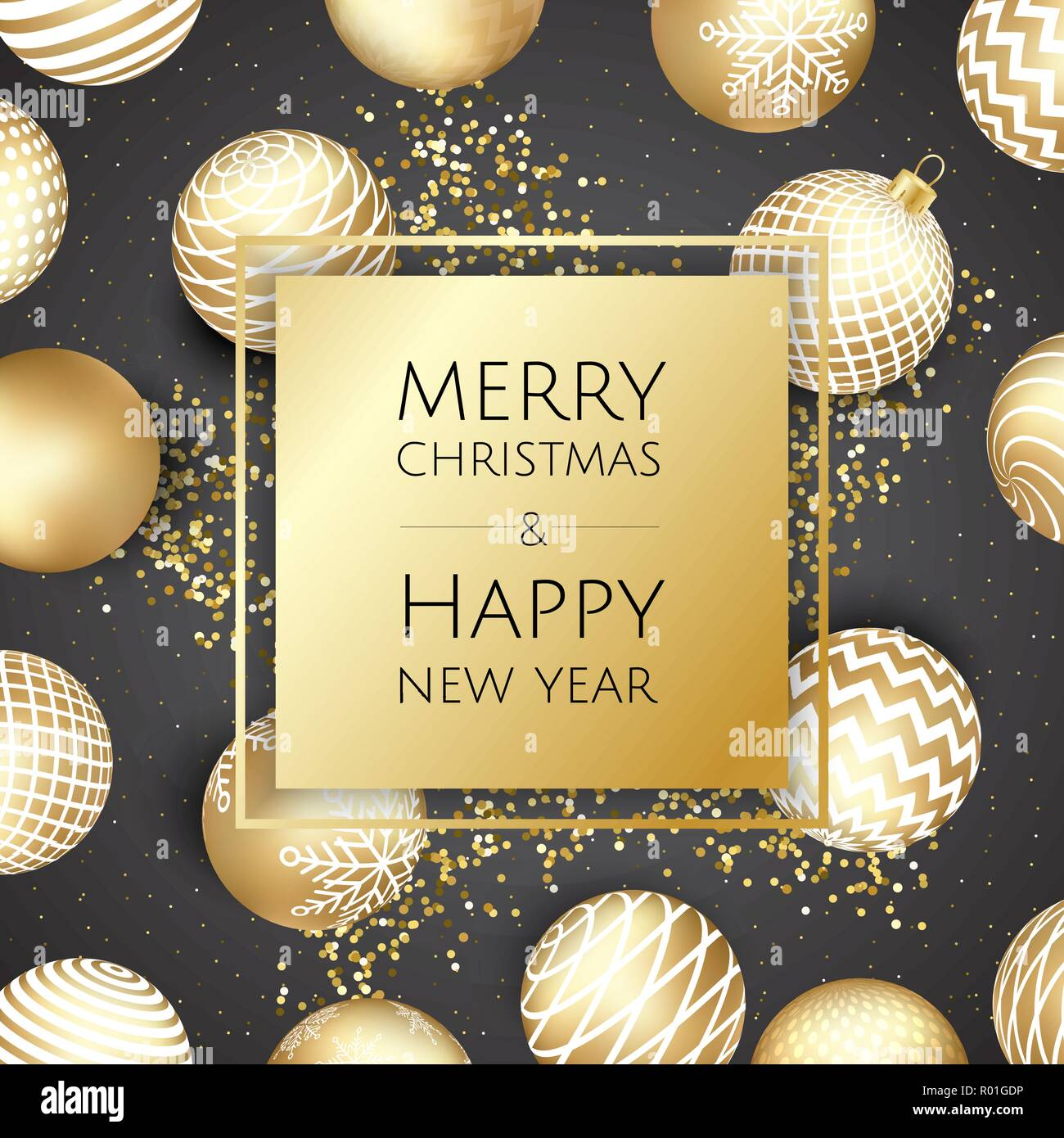 christmas and new year background with gold glitter texture xmas card vector illustration