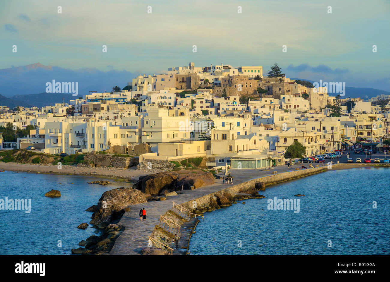 Naxos city in the evening light, island of Naxos, Cyclades, Aegean Sea, Greece - Stock Image