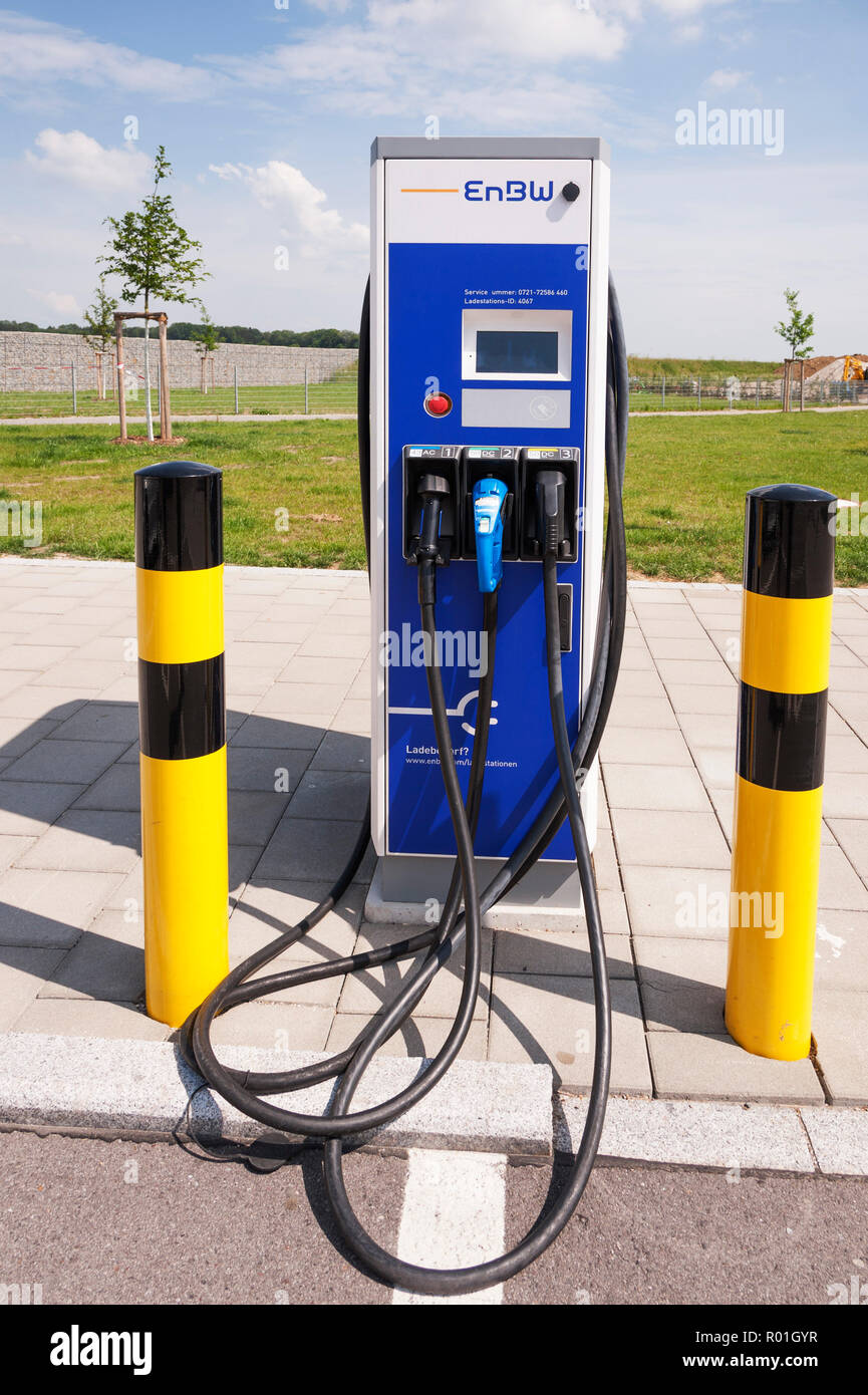 Electric car filling station on A8 motorway, Fürholzen