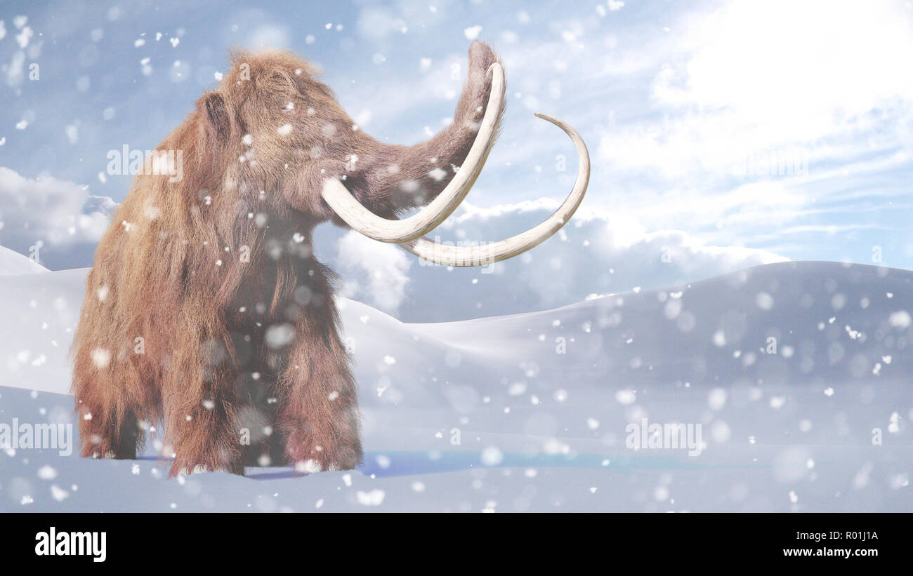 woolly mammoth, prehistoric mammal in snowy ice age landscape - Stock Image
