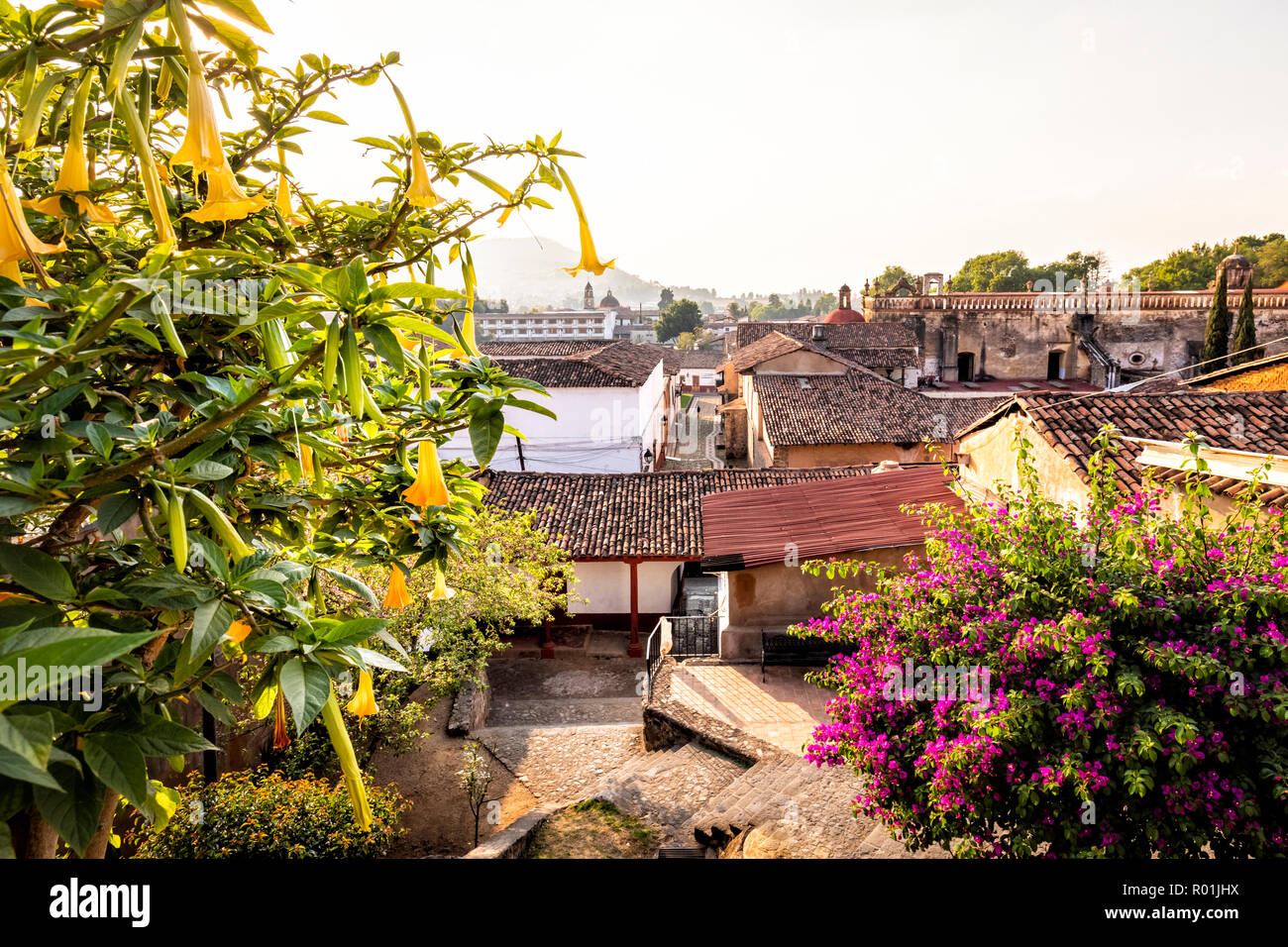 View from above of the tiled roofs near the Once Patios market in Patzcuaro, Michoacan, Mexico. - Stock Image