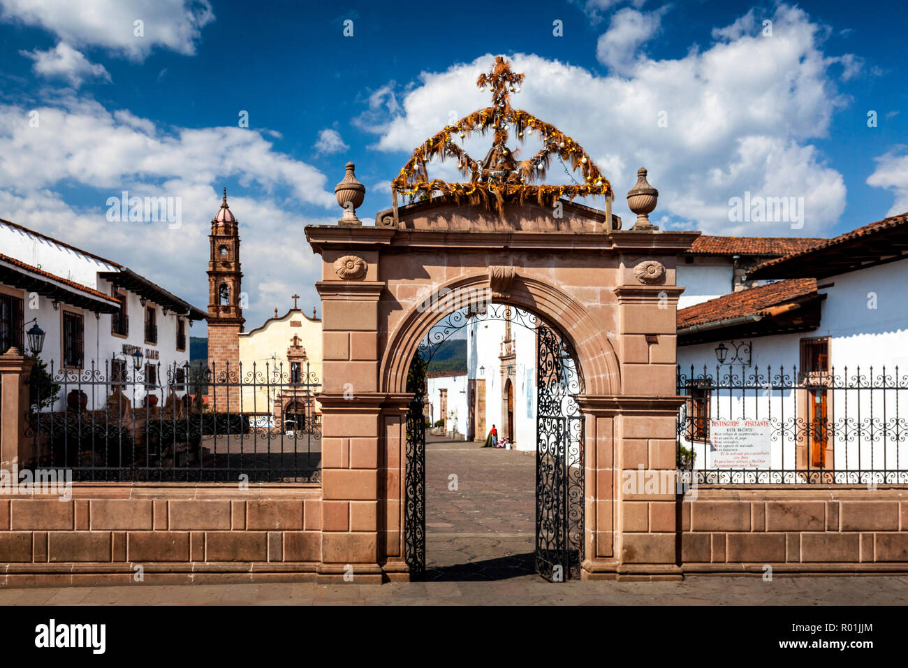 Plaza and church of Santa Clara del Cobre, Michoacan, Mexico. - Stock Image