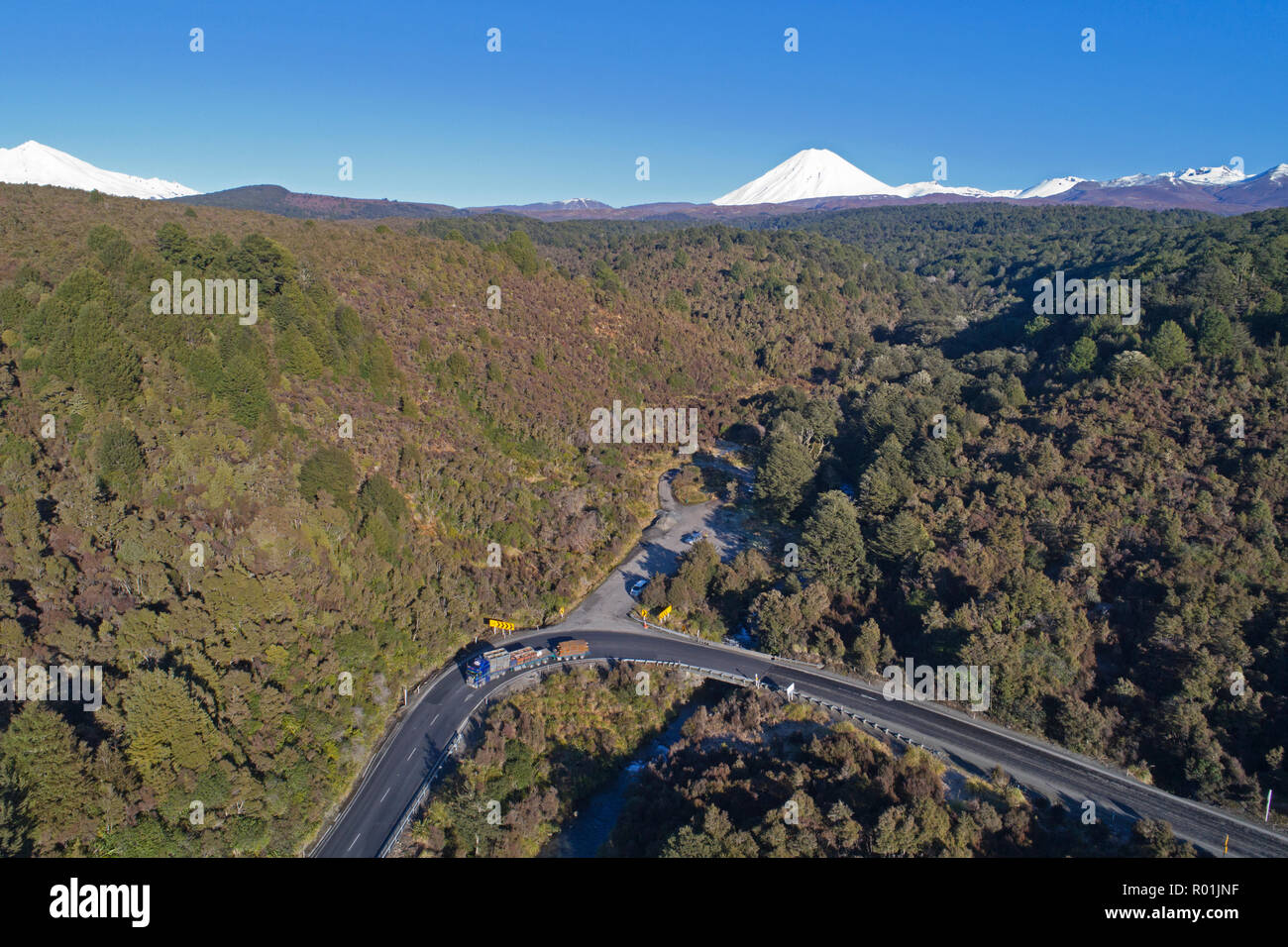 Mt Ngauruhoe and Desert Road, Tongariro National Park, Central Plateau, North Island, New Zealand - aerial - Stock Image