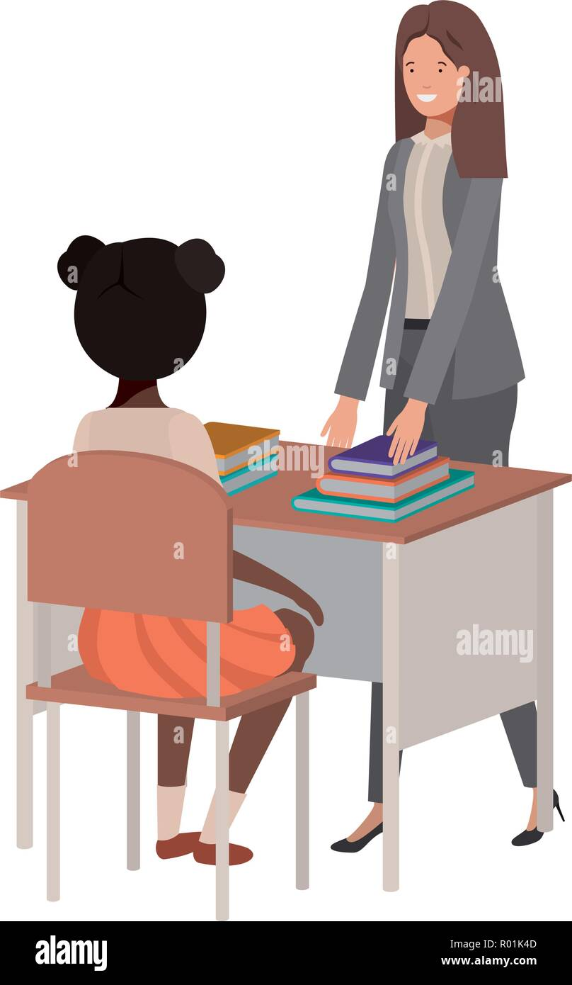 female teacher in the classroom with student vector illustration desing - Stock Image