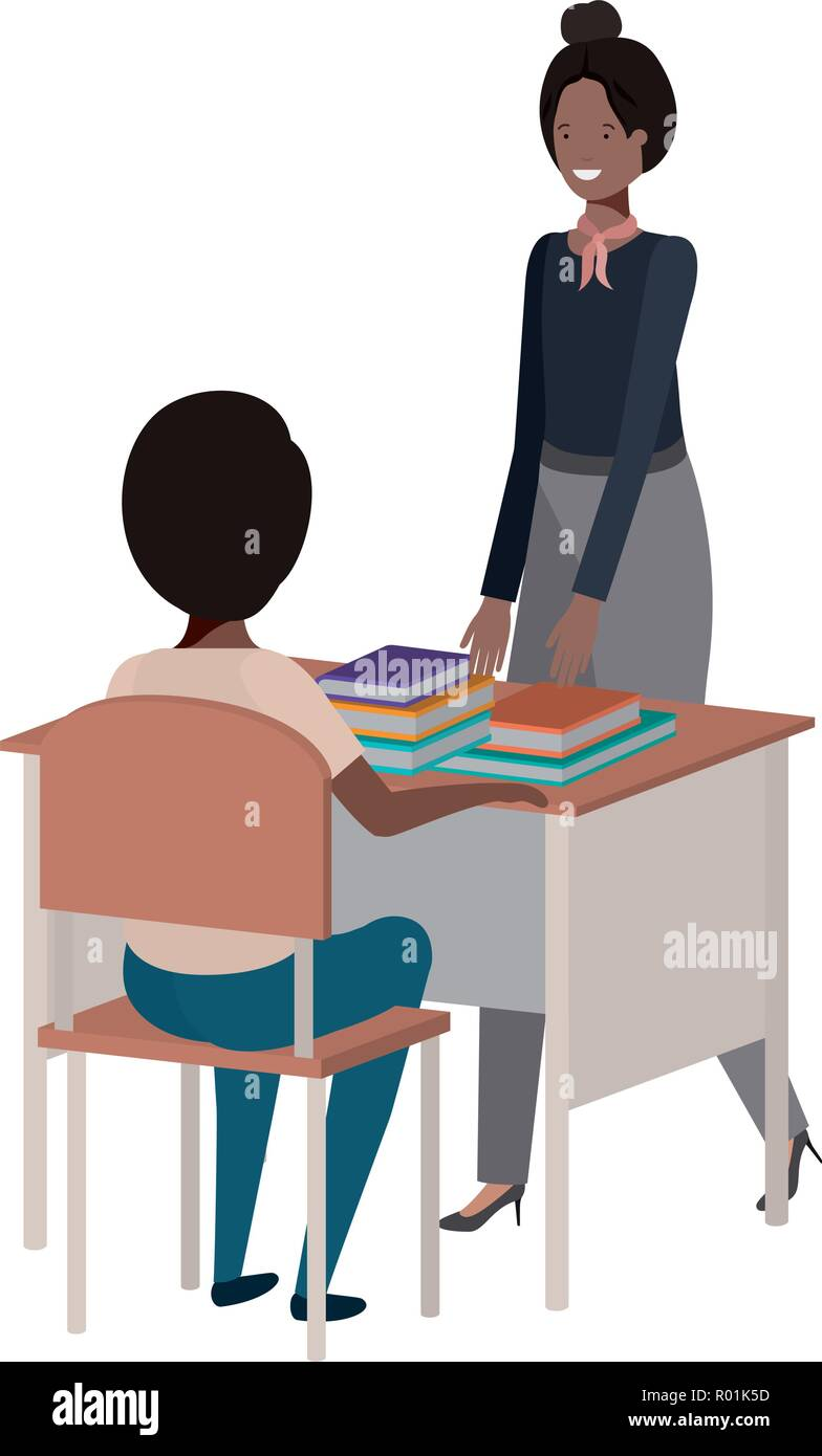 female teacher in the classroom with student - Stock Image