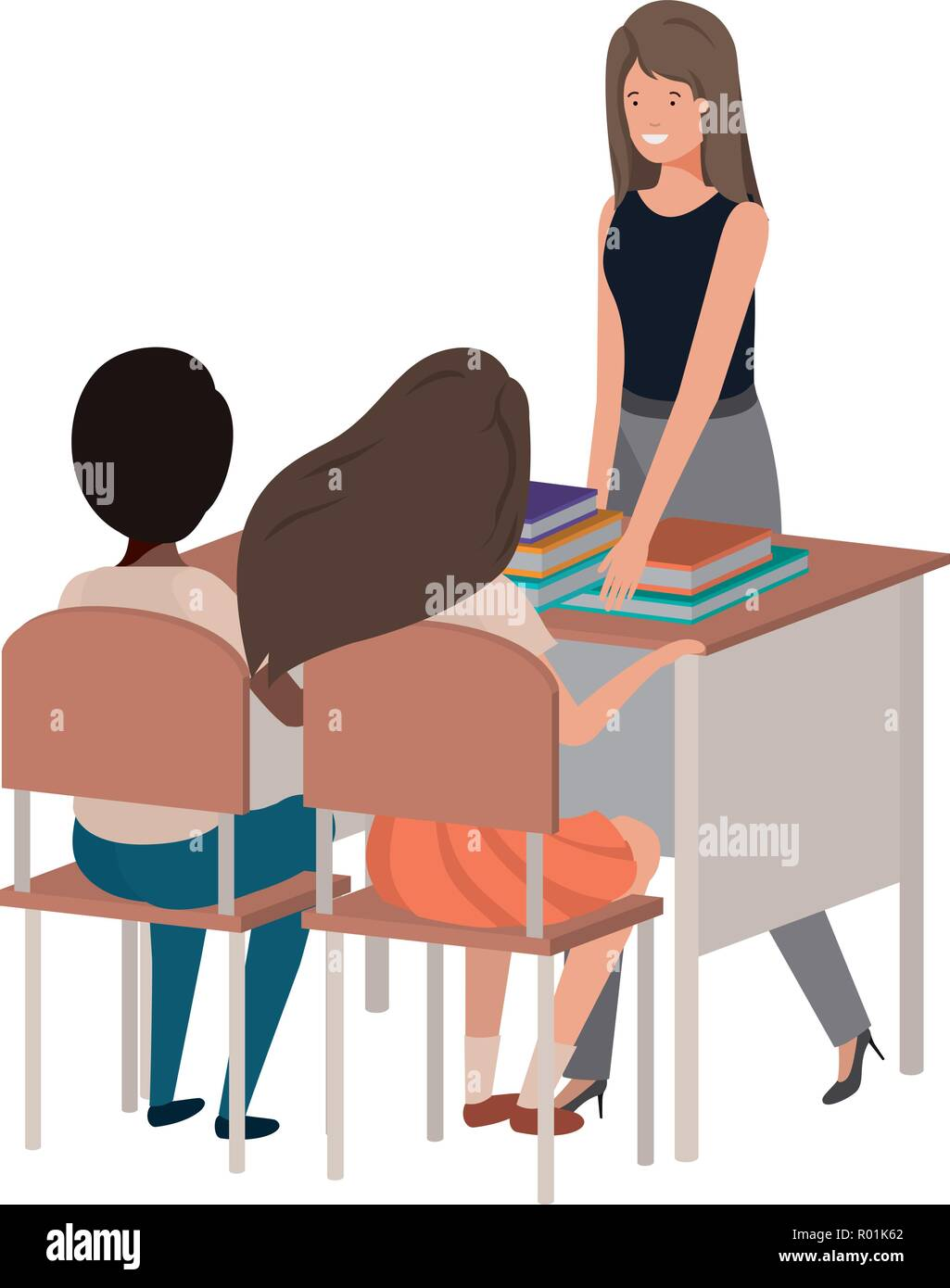female teacher in the classroom with students - Stock Image