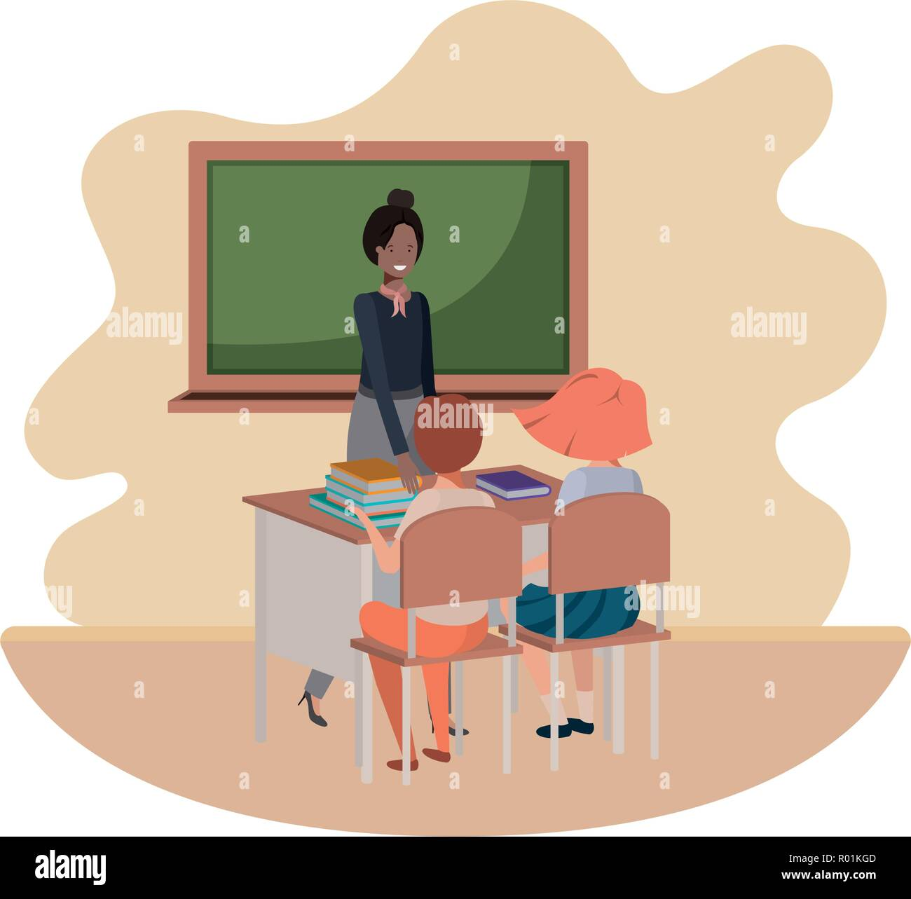 Teacher In The Classroom With Students Avatar Character Stock Vector Image Art Alamy