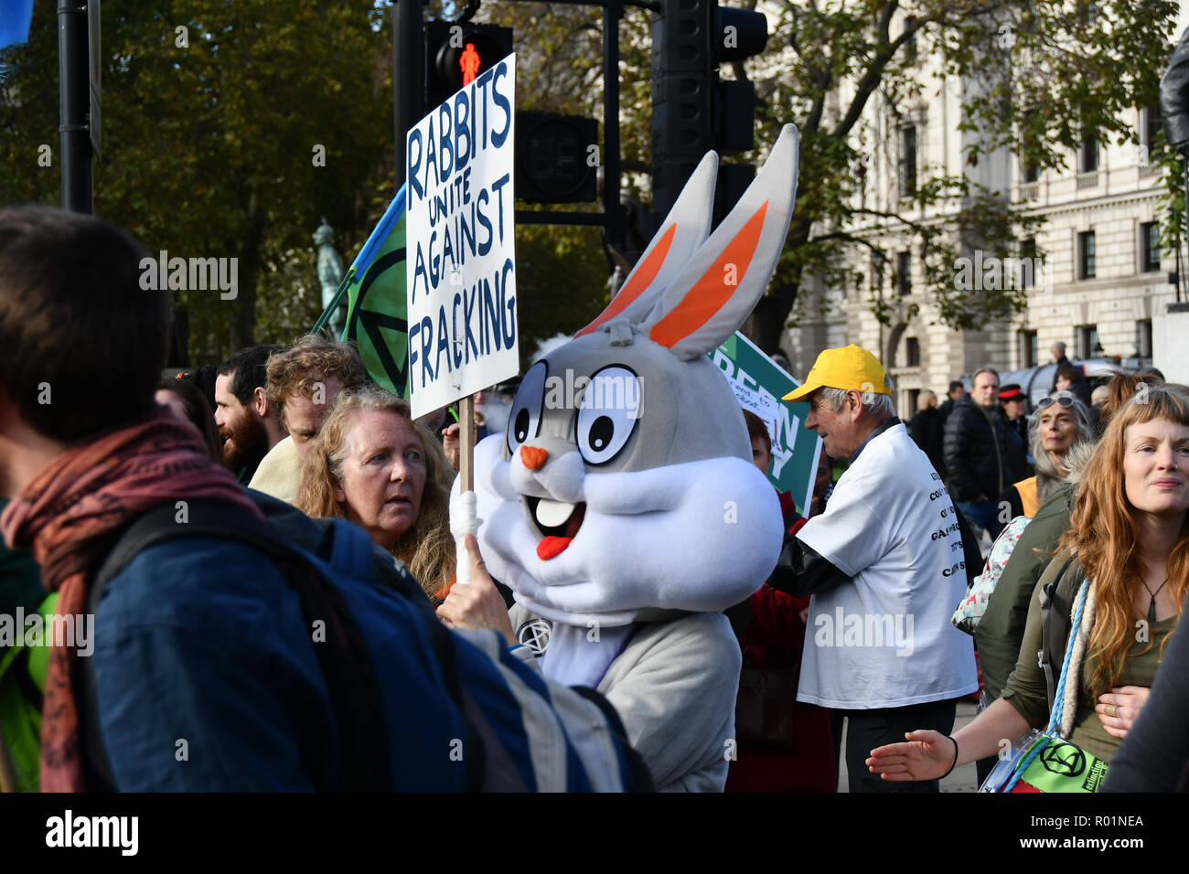 London, UK. 31st October, 2018. Declaration of Rebellion protest sit-in Against the British Government For Criminal Inaction in the Face of Climate Change Catastrophe and Ecological Collapse to have Zero carbon by 2025 in Parliament Square on 31 October 2018, London, UK. Credit: Picture Capital/Alamy Live News Stock Photo