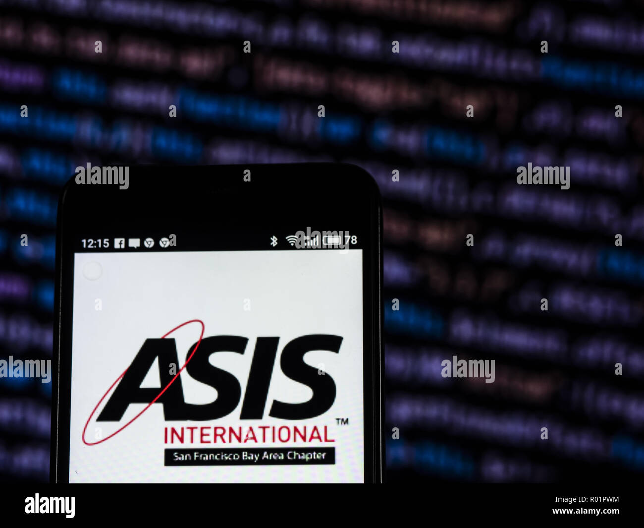 Kiev, Ukraine. 31st Oct, 2018. ASIS International Professional organizations company logo seen displayed on smart phone. ASIS International is a professional organization for security professionals. It issues various certifications, standards, and guidelines for the security profession. Credit: Igor Golovniov/SOPA Images/ZUMA Wire/Alamy Live News - Stock Image