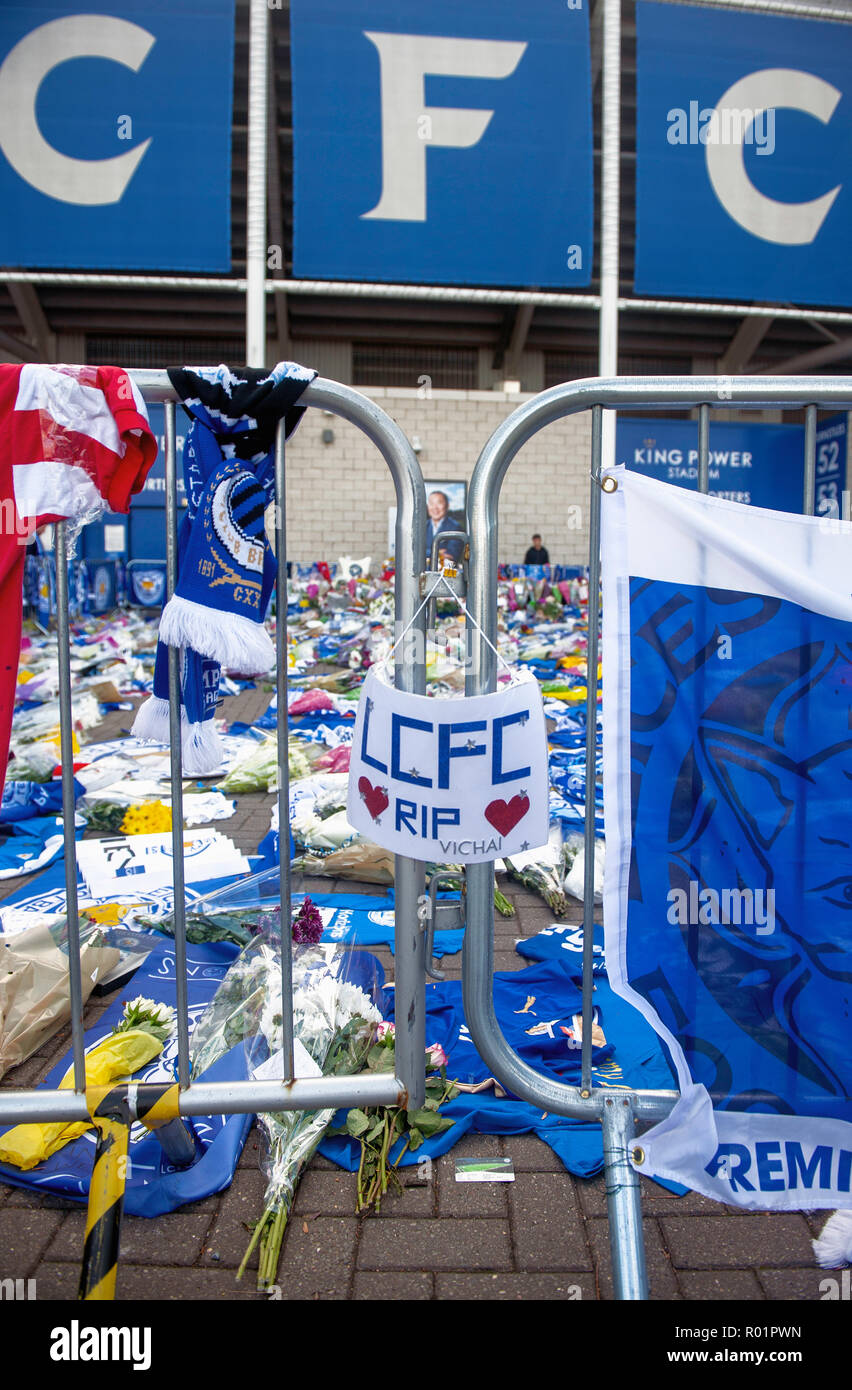 Leicester, UK. 31 October 2018. Tributes laid by Leicester City Football Club fans at the King Power stadium after the death of owner Vichai Srivaddhanaprabha. - Stock Image