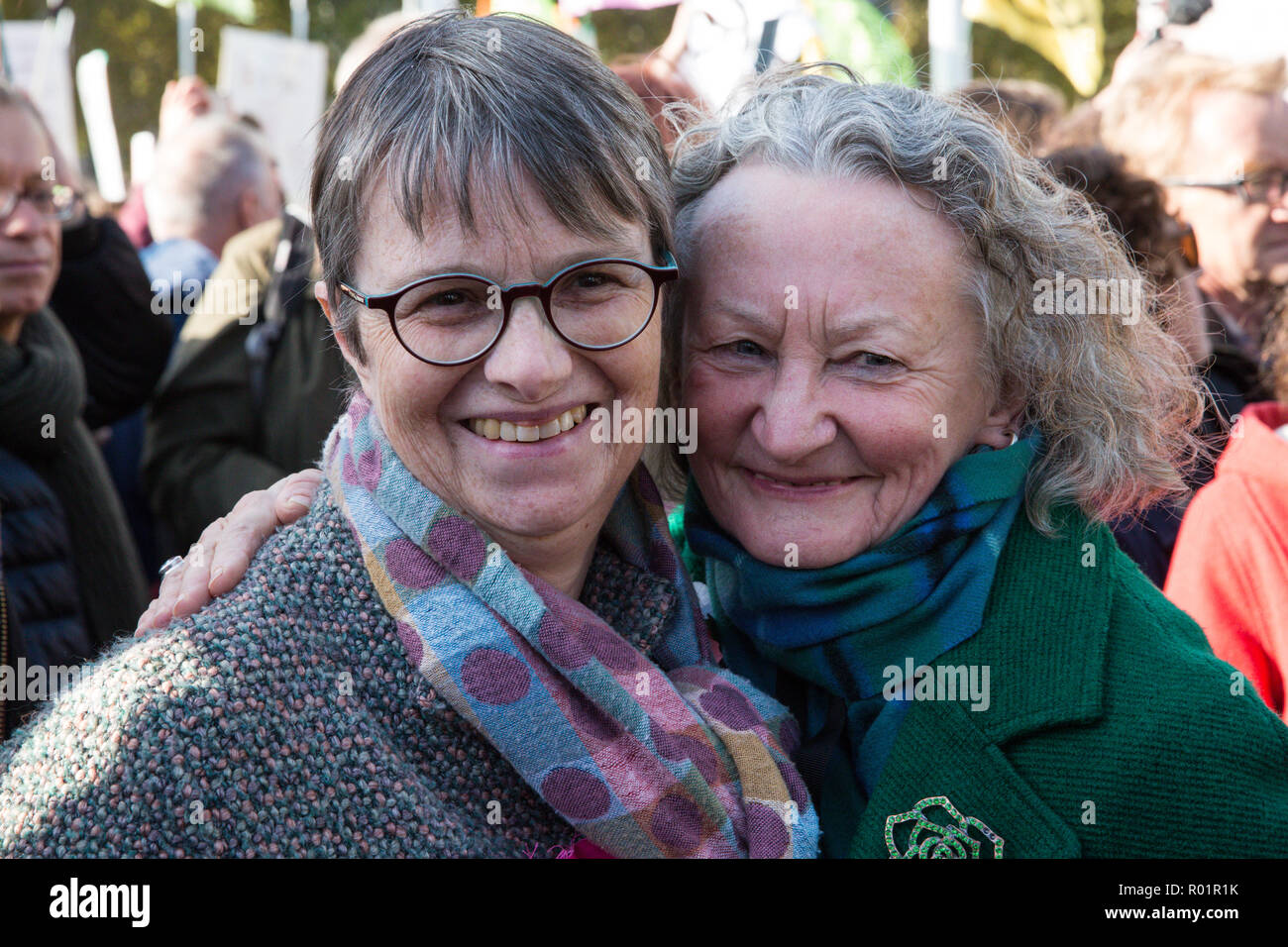 London, UK. 31st October, 2018. Molly Scott Cato, Green Party MEP, and Baroness Jenny Jones, Green Party peer, stand with environmental campaigners gathered in Parliament Square to make a formal declaration of non-violent rebellion against the British government for 'criminal inaction in the face of climate change catastrophe and ecological collapse'. Credit: Mark Kerrison/Alamy Live News - Stock Image