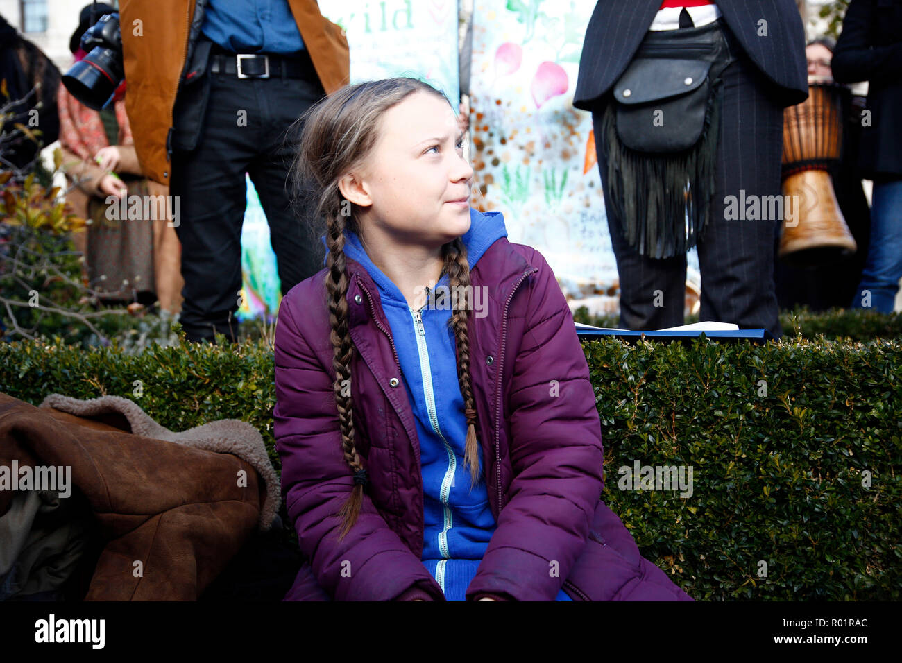London, UK. 31st October, 2018. Climate change protestors, block roads around Parliament Square, London, UK Credit: Natasha Quarmby/Alamy Live News - Stock Image