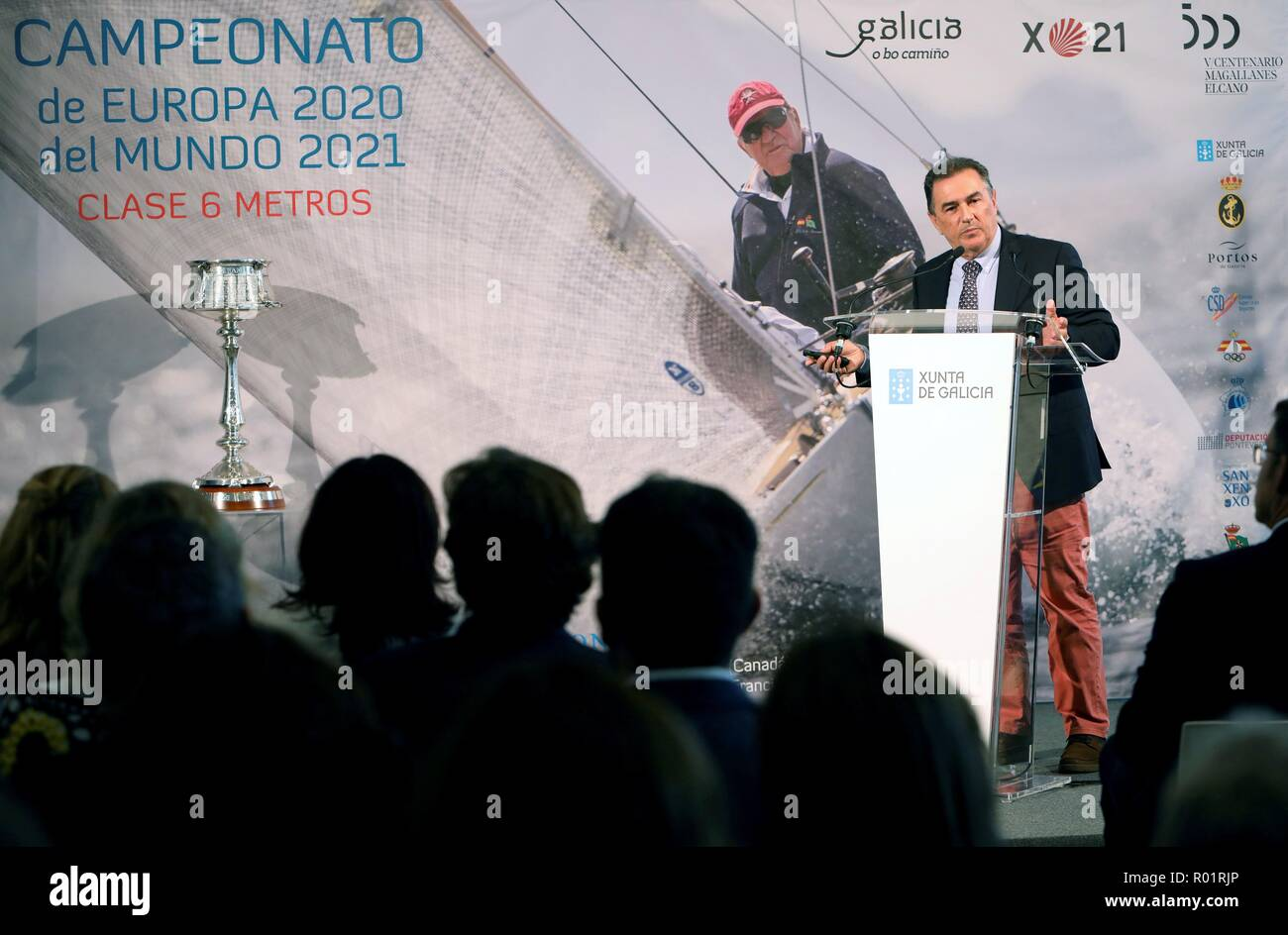 Spanish yatchsman Pedro Campos speaks during the presentation of the City of Culture of Europe's Championships 2020 and the 2021 World Championships, in Santiago de Compostela, Galicia, Spain, 31 October 2018. EFE/Xoan Rey - Stock Image