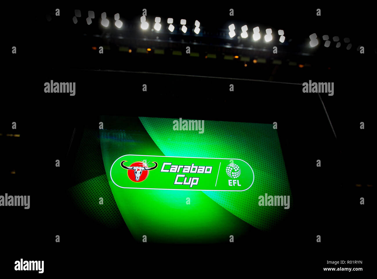 London, UK. 31st October, 2018. VAR unit pre match during the Carabao Cup round of 16 match between Chelsea and Derby County at Stamford Bridge, London, England on 31 October 2018. Photo by Andy Rowland. Credit: Andrew Rowland/Alamy Live News./Alamy Live News - Stock Image