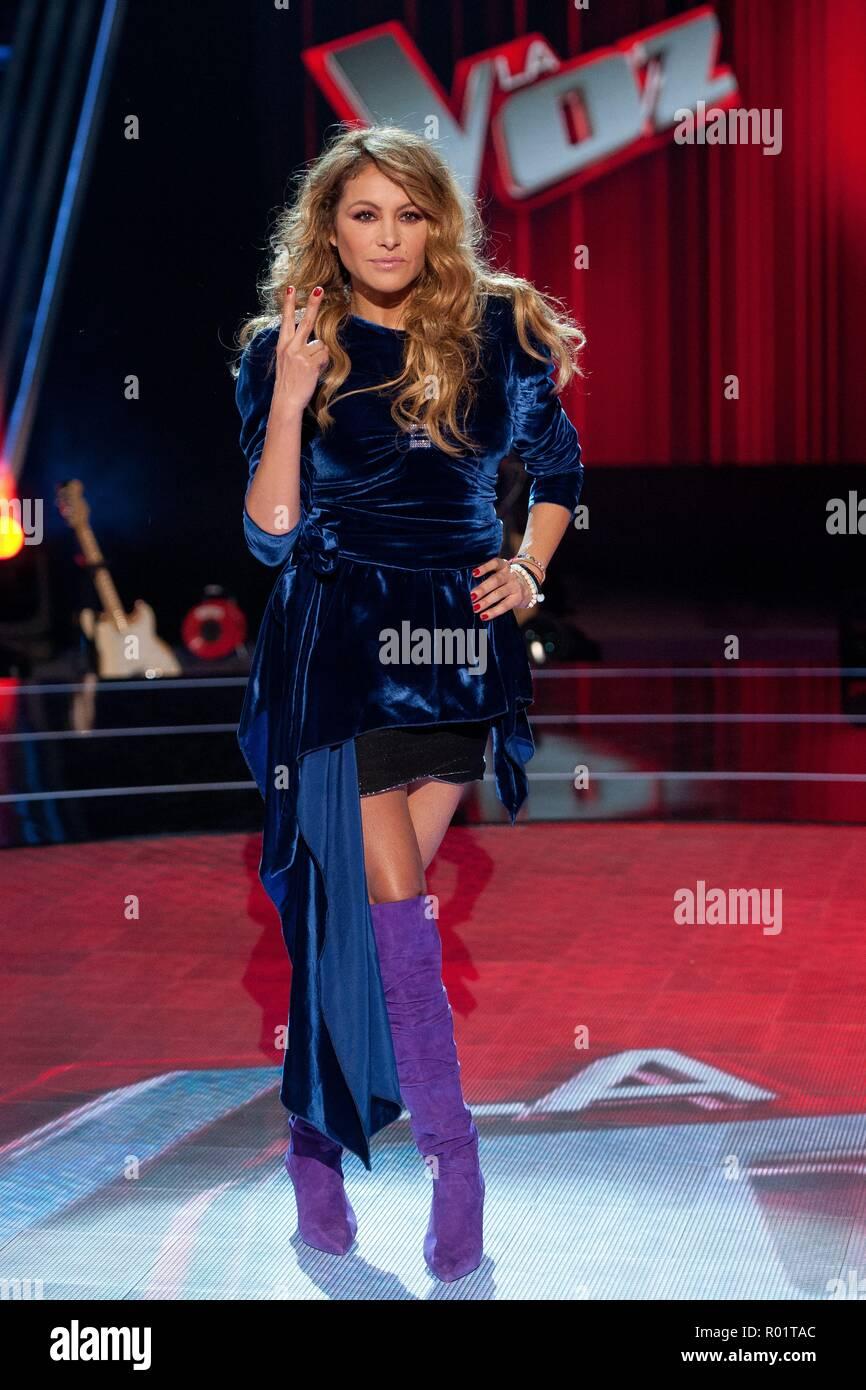 Paulina Rubio during presentation of tv program La Voz in Madrid on Wednesday , 31 october 2018 Stock Photo