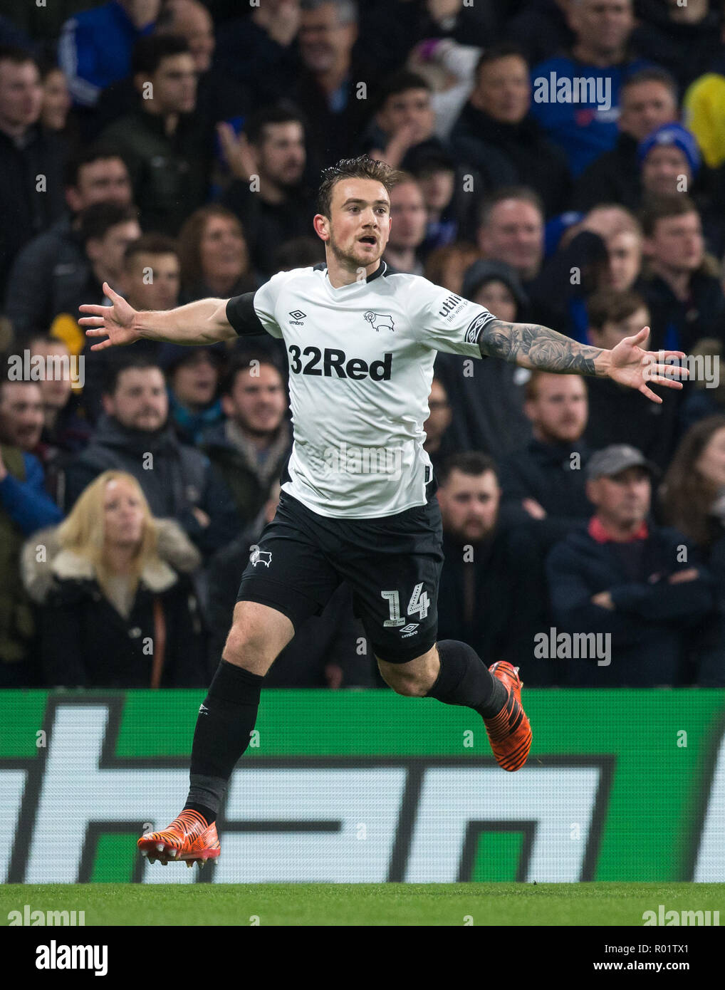 London, UK. 31st October, 2018. Jack Marriott of Derby County celebrates scoring a goal during the Carabao Cup round of 16 match between Chelsea and Derby County at Stamford Bridge, London, England on 31 October 2018. Photo by Andy Rowland./Alamy Live News Stock Photo