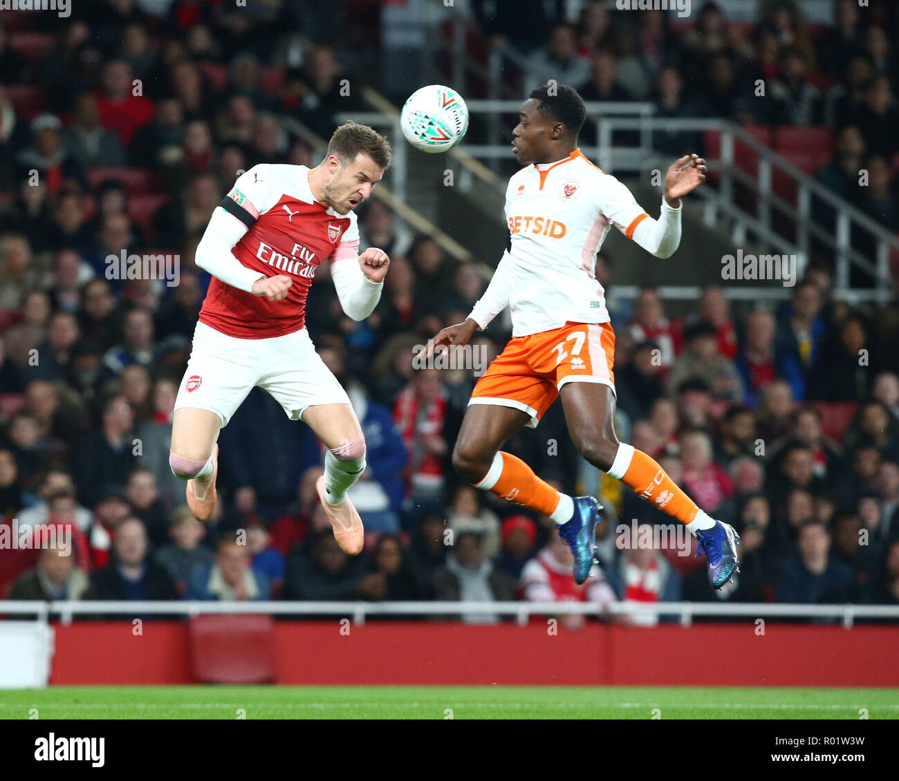 London, UK, 31 October, 2018 Aaron Ramsey of Arsenal during EFL Cup Fourth Round  between Arsenal and Blackpool at Emirates stadium , London, England on 31 Oct 2018.  Credit Action Foto Sport Credit: Action Foto Sport/Alamy Live News - Stock Image