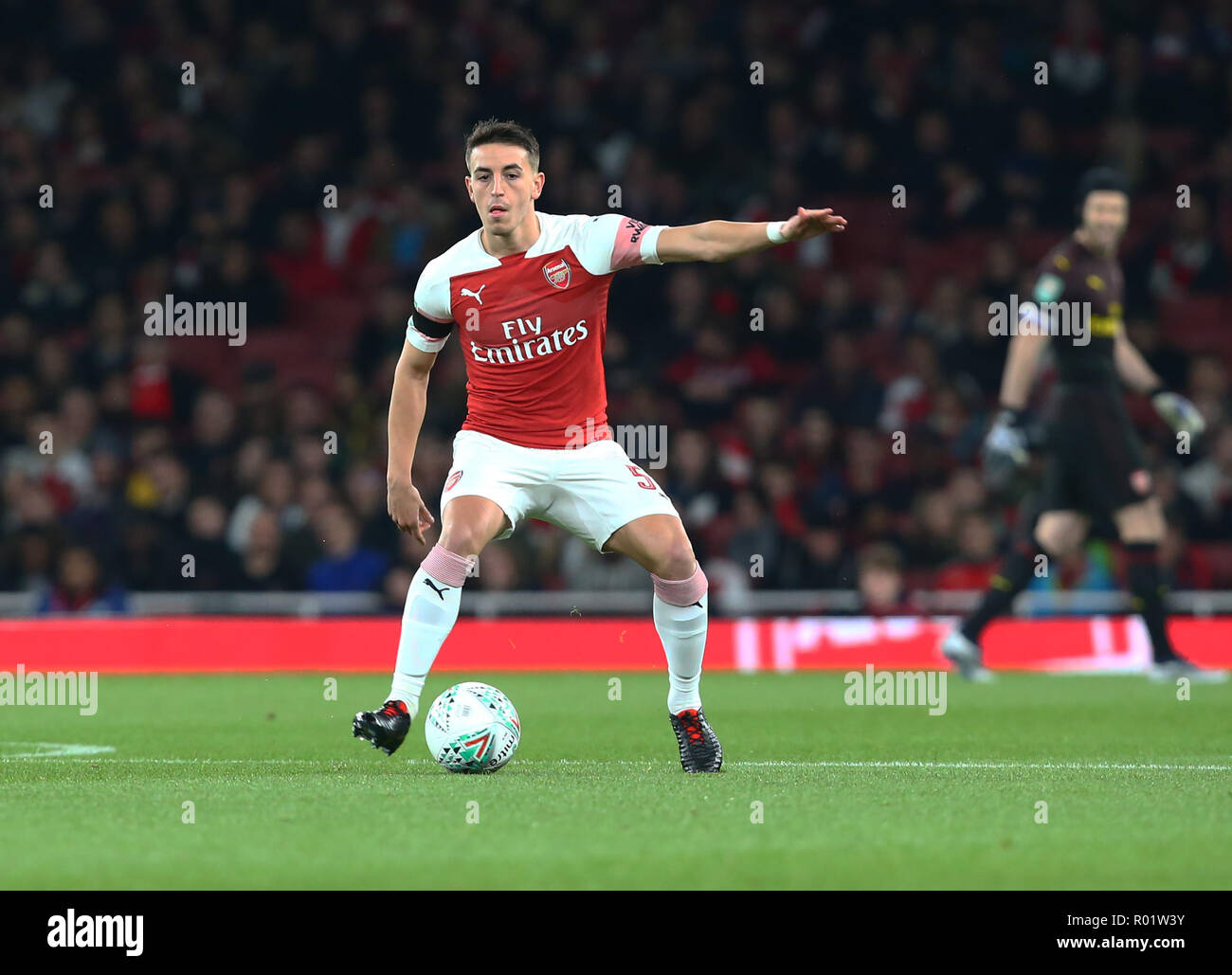 London, UK, 31 October, 2018 Julio Pleguezuelo of Arsenal making his debut during EFL Cup Fourth Round  between Arsenal and Blackpool at Emirates stadium , London, England on 31 Oct 2018.  Credit Action Foto Sport Credit: Action Foto Sport/Alamy Live News - Stock Image