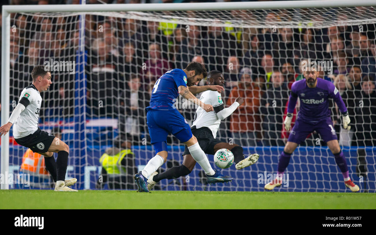 London, UK. 31st October, 2018. Cesc Fˆbregas of Chelsea scores his teams third goal during the Carabao Cup round of 16 match between Chelsea and Derby County at Stamford Bridge, London, England on 31 October 2018. Photo by Andy Rowland../Alamy Live News Stock Photo