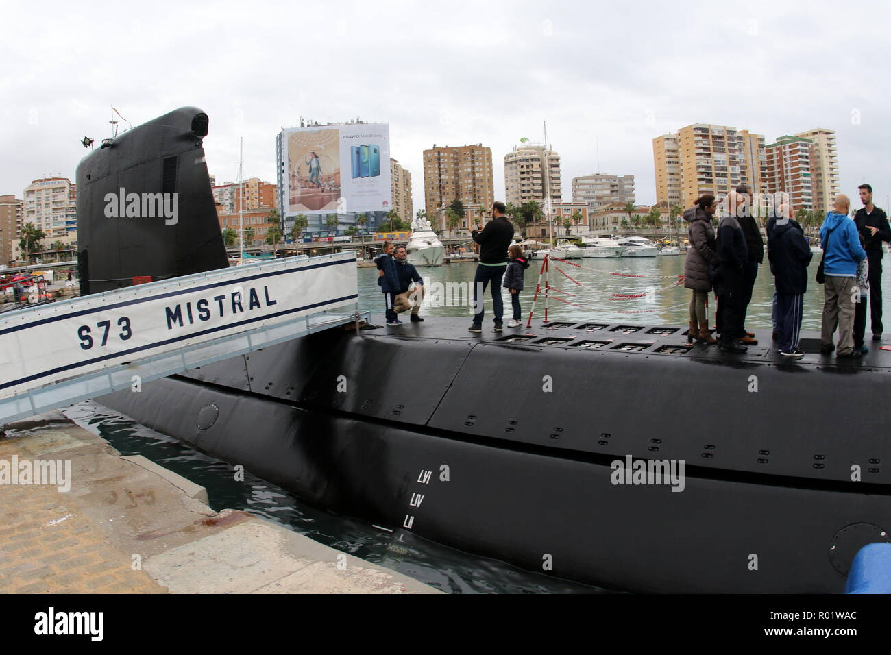 October 31, 2018 - 31 october 2018 (Malaga ) The Mistral submarine has stopped at the Port of Malaga from today until November 2. The Mistral submarine is the third of the Galerna class. During the first semester of this year he has participated in the Operation 'Sea Guardian', dedicated to the control of maritime traffic and detection of illicit activities that may affect the stability of the coastal states of the Atlantic Alliance. Its crew consists of 63 men and women, and after its stopover in the Port of Malaga it will continue with various maneuvers and training exercises. (Credit Image: - Stock Image