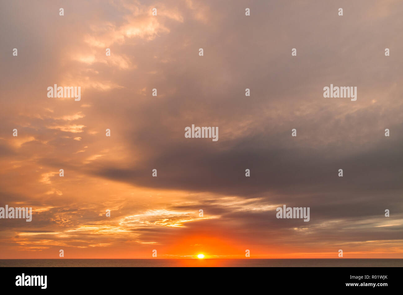 Birling Gap, Eastbourne, East Sussex, UK..31 October 2018..Interesting clouds at sunset create glorious colours in the sky. A tad warmer tonight with wind from the South East ..David Burr/Alamy Live News Stock Photo