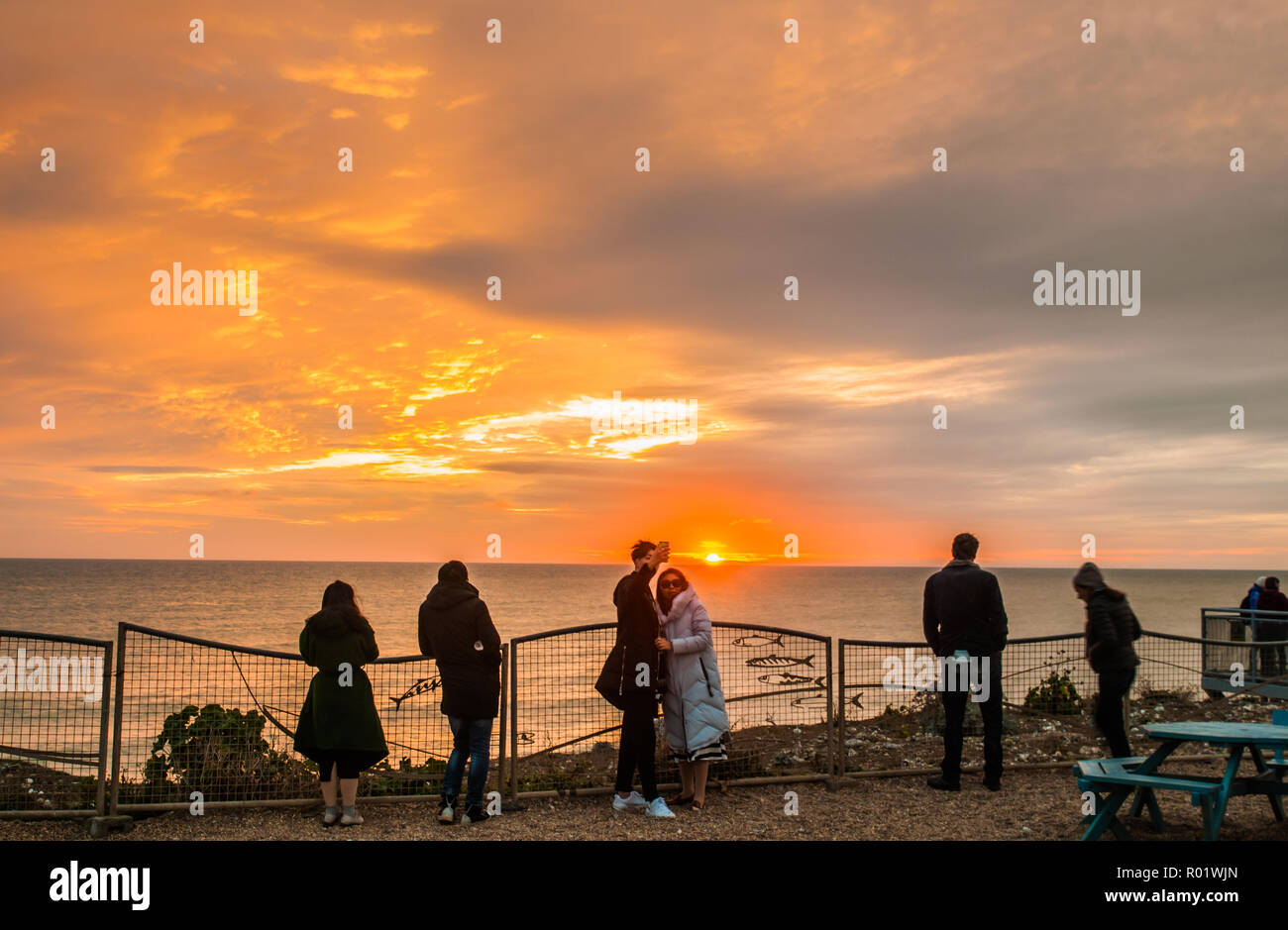 Birling Gap, Eastbourne, East Sussex, UK..31 October 2018..Interesting clouds at sunset create glorious colours in the sky. A tad warmer tonight with wind from the South East ..David Burr/Alamy Live News - Stock Image