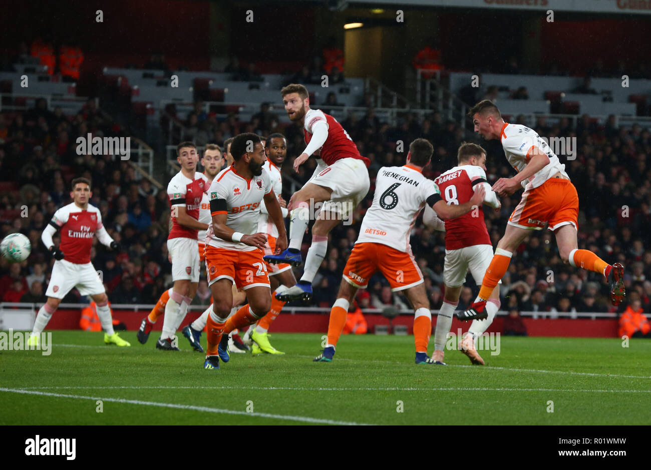 London, UK, 31 October, 2018 Blackpool's Paudie O'Connor scores during EFL Cup Fourth Round  between Arsenal and Blackpool at Emirates stadium , London, England on 31 Oct 2018.  Credit Action Foto Sport/Alamy Live News Stock Photo