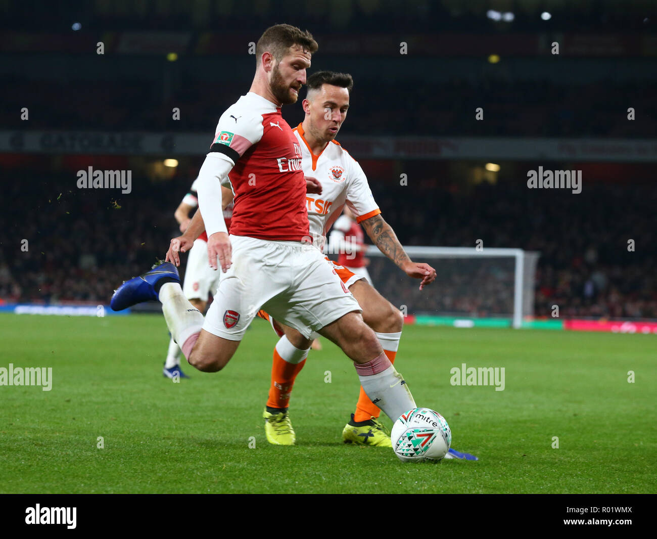 London, UK, 31 October, 2018 Shkodran Mustafi of Arsenal during EFL Cup Fourth Round  between Arsenal and Blackpool at Emirates stadium , London, England on 31 Oct 2018.  Credit Action Foto Sport/Alamy Live News - Stock Image