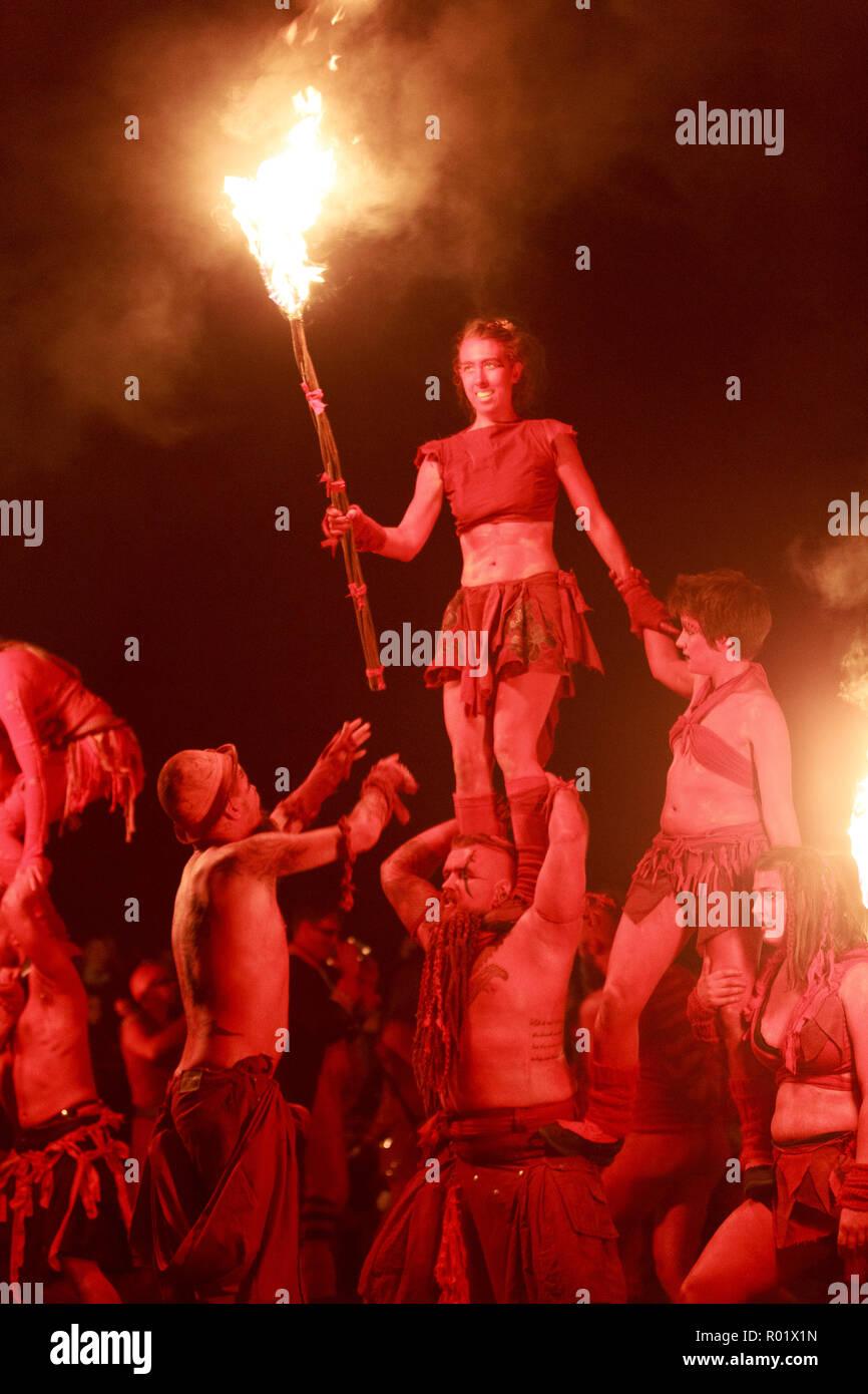 Edinburgh, Scotland. UK. 31 October 2018. The Samhuinn Fire Festival, end of summer start winter. For the first time ever Samhuinn Fire Festival marks the turn of the seasons at the top of Calton Hill. Pako Mera/Alamy Live News - Stock Image