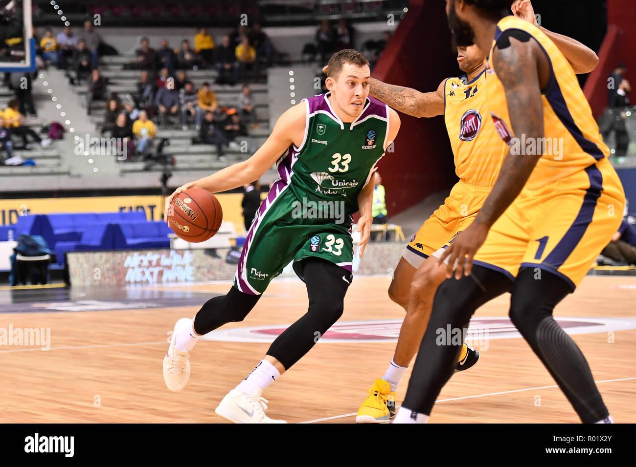Turin, Italy. 31st Oct, 2018. Kile Wiltjer (Unicaja Malaga) during the 7 Days EuroCup 2018/19 basketball match between FIAT AUXILIUM TORINO VS UNICAJA MALAGA at PalaVela on 31 October, 2018 in Turin, Italy. Credit: FABIO PETROSINO/Alamy Live News - Stock Image