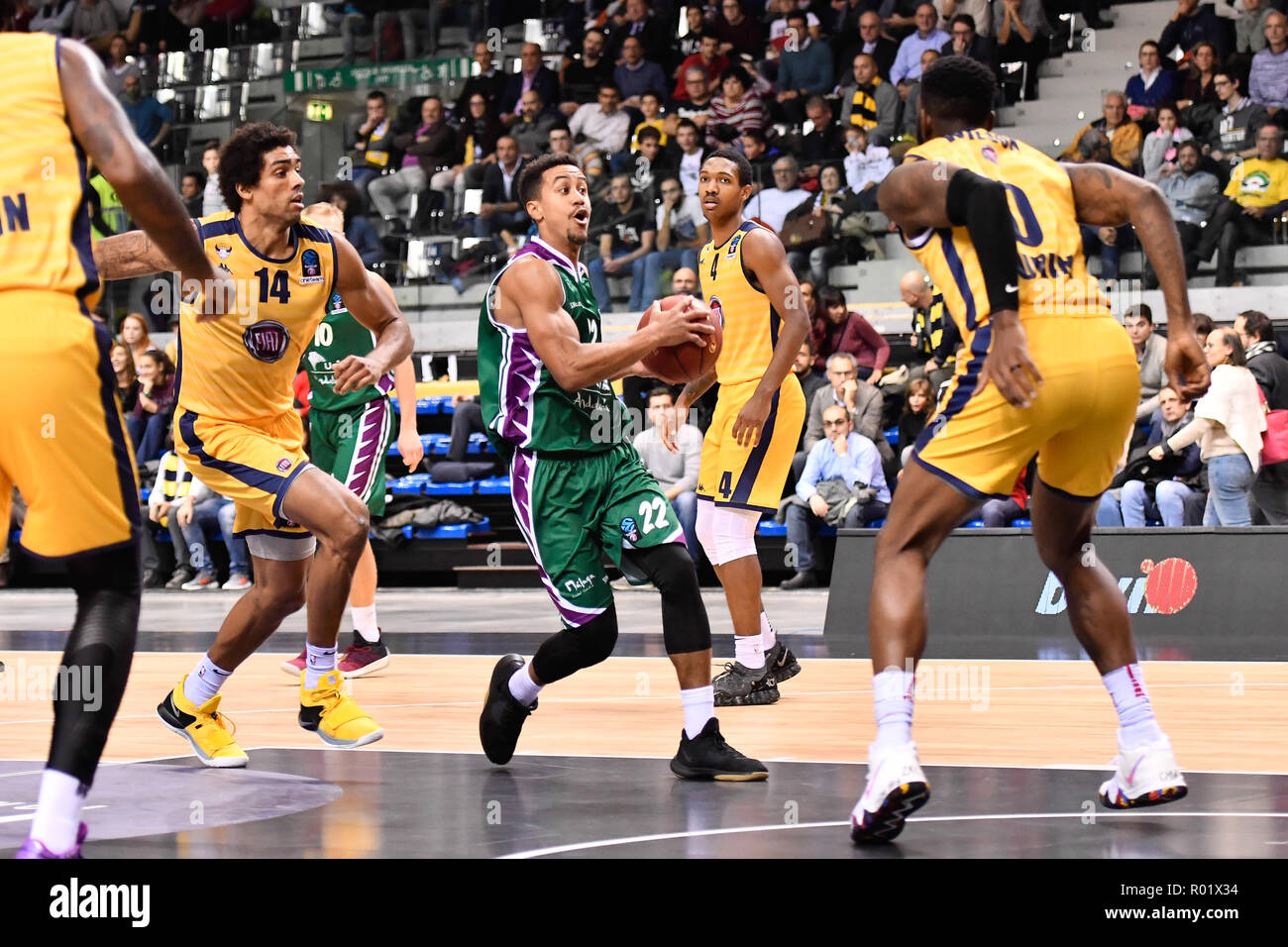 Turin, Italy. 31st Oct, 2018. Brian Roberts (Unicaja Malaga) during the 7 Days EuroCup 2018/19 basketball match between FIAT AUXILIUM TORINO VS UNICAJA MALAGA at PalaVela on 31 October, 2018 in Turin, Italy. Credit: FABIO PETROSINO/Alamy Live News - Stock Image