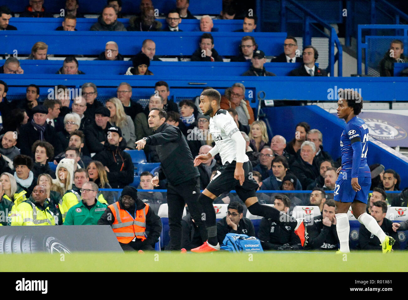 Derby County manager, Frank Lampard during the EFL Carabao Cup Round of 16 match between Chelsea and Derby County at Stamford Bridge, London, England on 31 October 2018. Photo by Carlton Myrie.  Editorial use only, license required for commercial use. No use in betting, games or a single club/league/player publications. - Stock Image