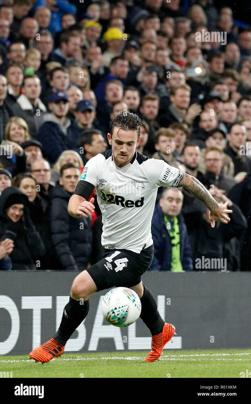 Jack Marriott of Derby County clears the danger during the EFL Carabao Cup Round of 16 match between Chelsea and Derby County at Stamford Bridge, London, England on 31 October 2018. Photo by Carlton Myrie.  Editorial use only, license required for commercial use. No use in betting, games or a single club/league/player publications. - Stock Image