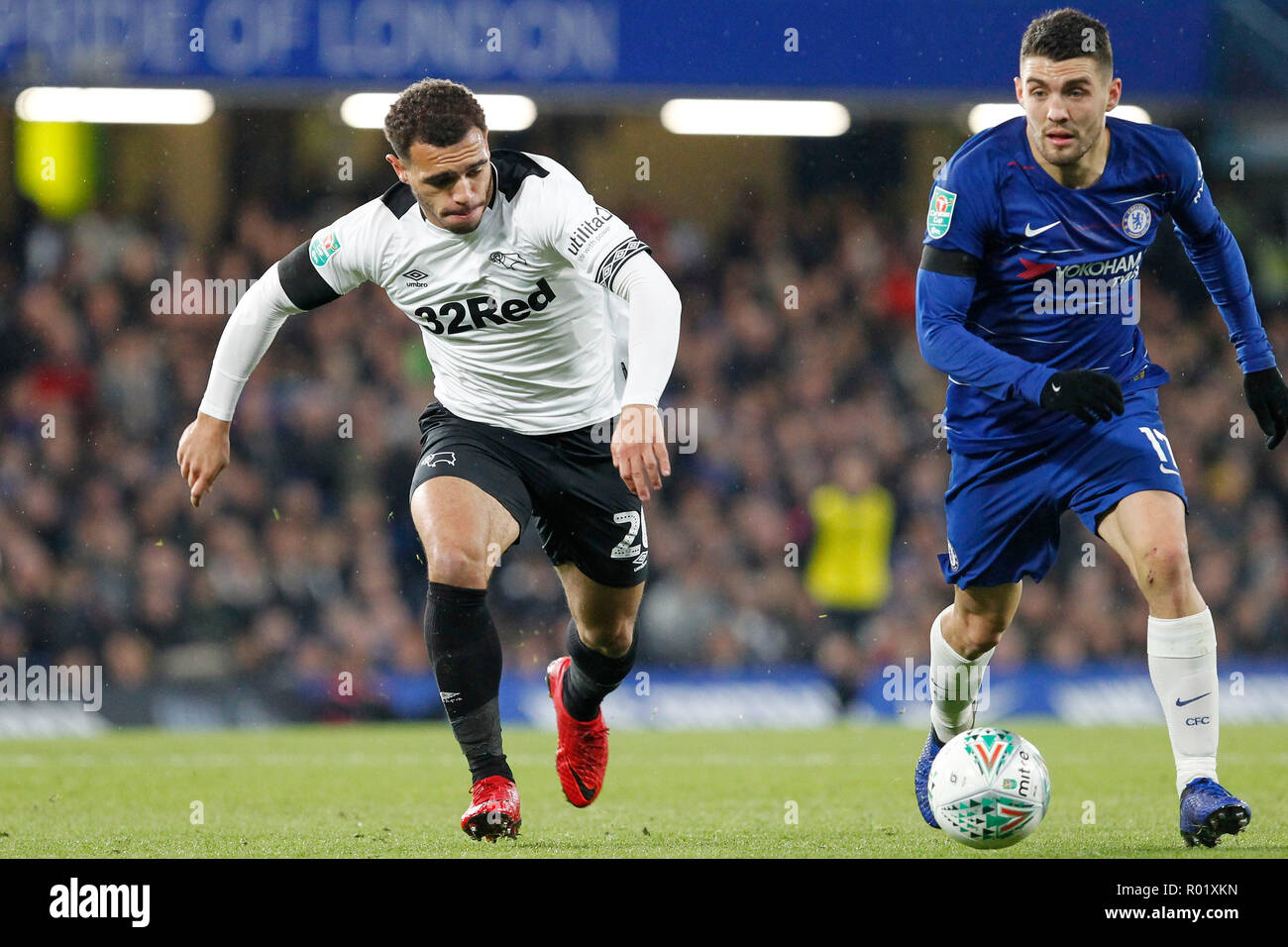 Mason Bennett of Derby County gives chase during the EFL Carabao Cup Round of 16 match between Chelsea and Derby County at Stamford Bridge, London, England on 31 October 2018. Photo by Carlton Myrie.  Editorial use only, license required for commercial use. No use in betting, games or a single club/league/player publications. - Stock Image
