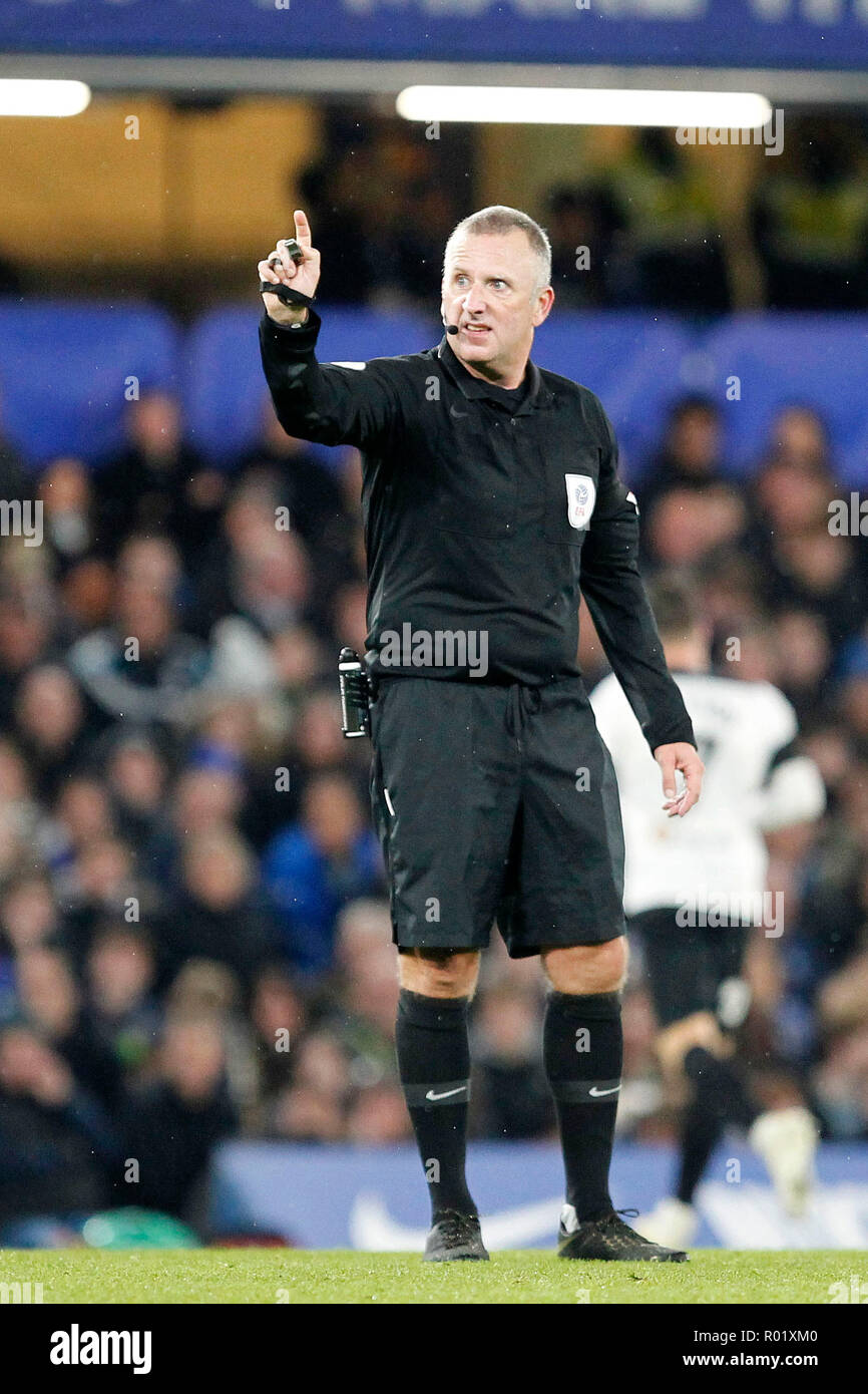 Referee, Jonathan Moss directs play during the EFL Carabao Cup Round of 16 match between Chelsea and Derby County at Stamford Bridge, London, England on 31 October 2018. Photo by Carlton Myrie.  Editorial use only, license required for commercial use. No use in betting, games or a single club/league/player publications. - Stock Image