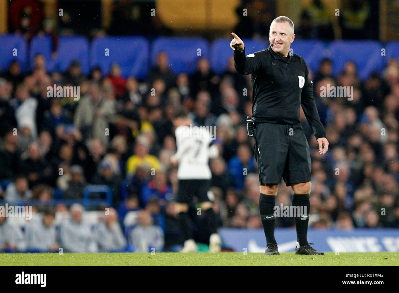 Referee, Jonathan Moss smiling during the EFL Carabao Cup Round of 16 match between Chelsea and Derby County at Stamford Bridge, London, England on 31 October 2018. Photo by Carlton Myrie.  Editorial use only, license required for commercial use. No use in betting, games or a single club/league/player publications. Stock Photo