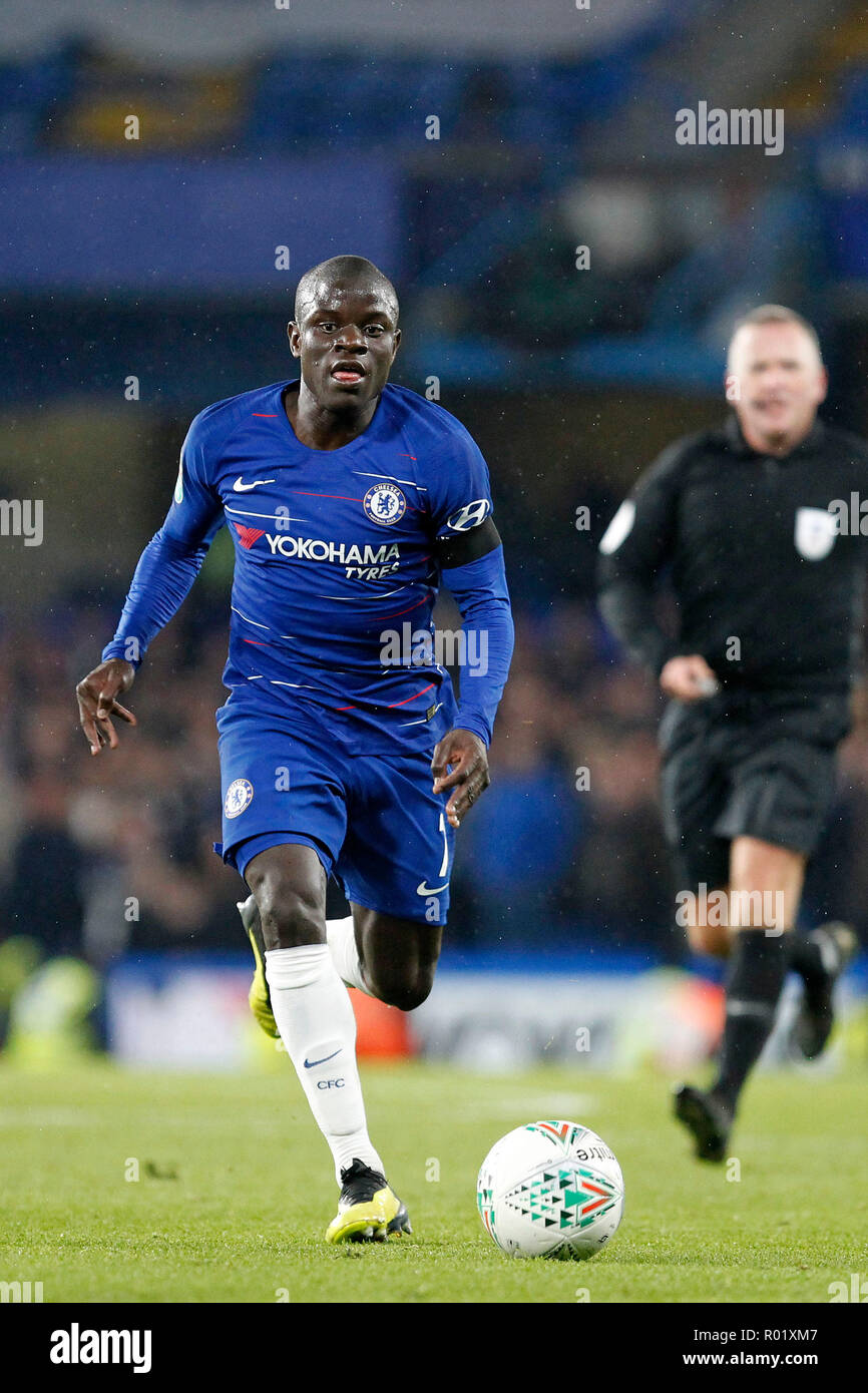 Ngolo Kanté of Chelsea in action during the EFL Carabao Cup Round of 16 match between Chelsea and Derby County at Stamford Bridge, London, England on 31 October 2018. Photo by Carlton Myrie.  Editorial use only, license required for commercial use. No use in betting, games or a single club/league/player publications. - Stock Image