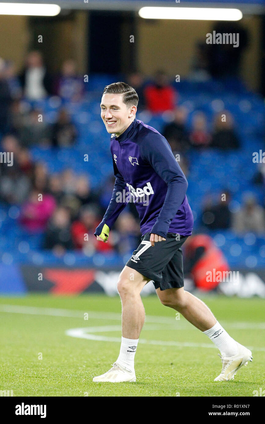 Harry Wilson of Derby County warms up during the EFL Carabao Cup Round of 16 match between Chelsea and Derby County at Stamford Bridge, London, England on 31 October 2018. Photo by Carlton Myrie.  Editorial use only, license required for commercial use. No use in betting, games or a single club/league/player publications. - Stock Image