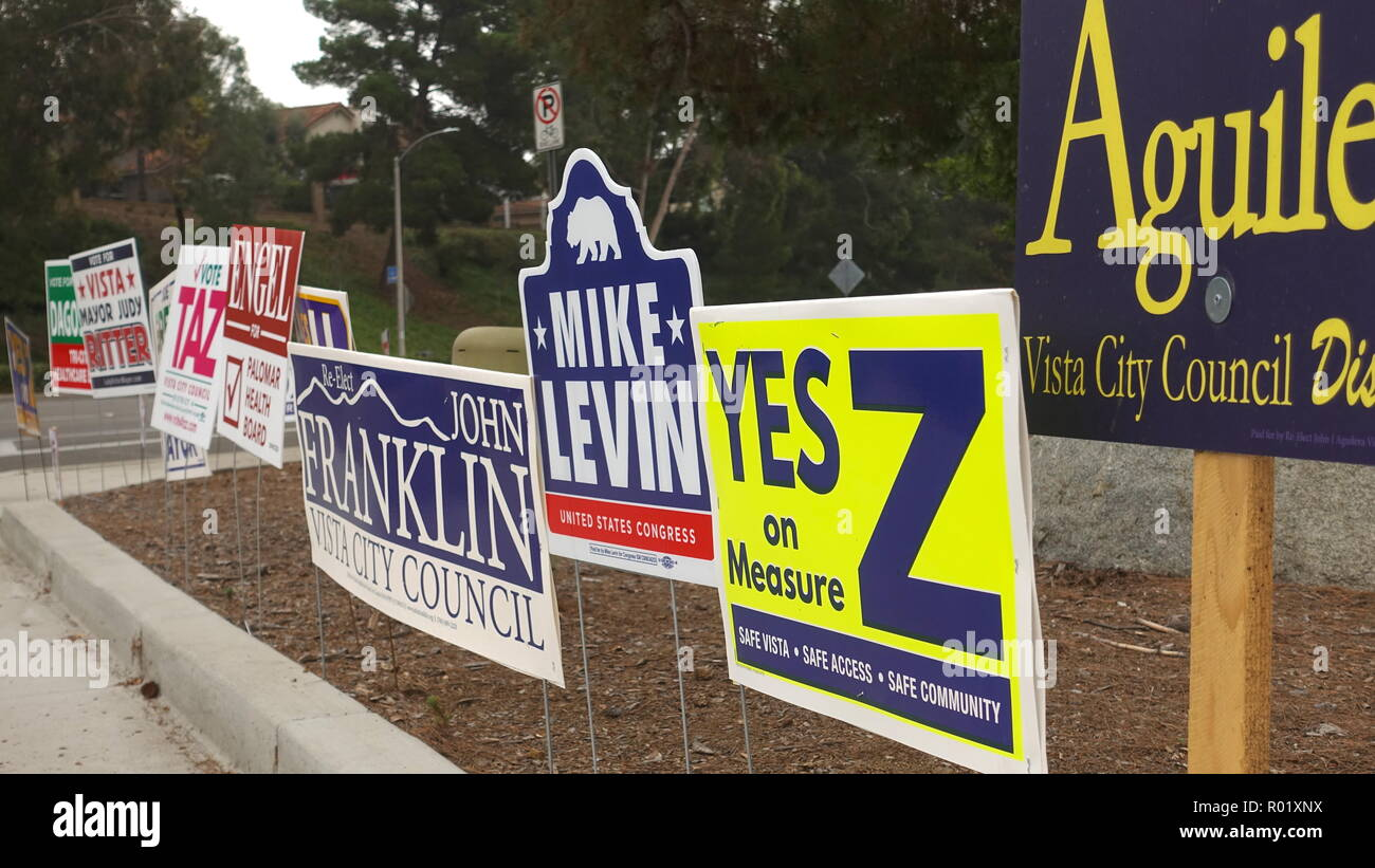 Signs clutter every street corner as California midterm and local elections heat up - Stock Image