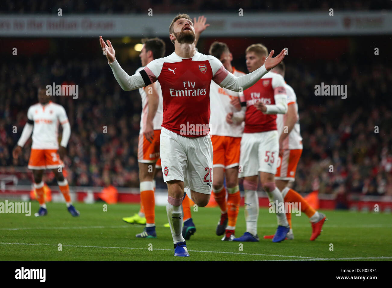 London, UK. 31st Oct, 2018. Shkodran Mustafi of Arsenal reacts after a missed chance - Arsenal v Blackpool, Carabao Cup - Fourth Round, Emirates Stadium, London (Holloway) - 31st October 2018  STRICTLY EDITORIAL USE ONLY - DataCo rules apply - The use of this image in a commercial context is strictly prohibited unless express permission has been given by the club(s) concerned. Examples of commercial usage include, but are not limited to, use in betting and gaming, marketing and advertising products. No use with unauthorised audio, video, data, fixture lists, club and or league logos or service - Stock Image