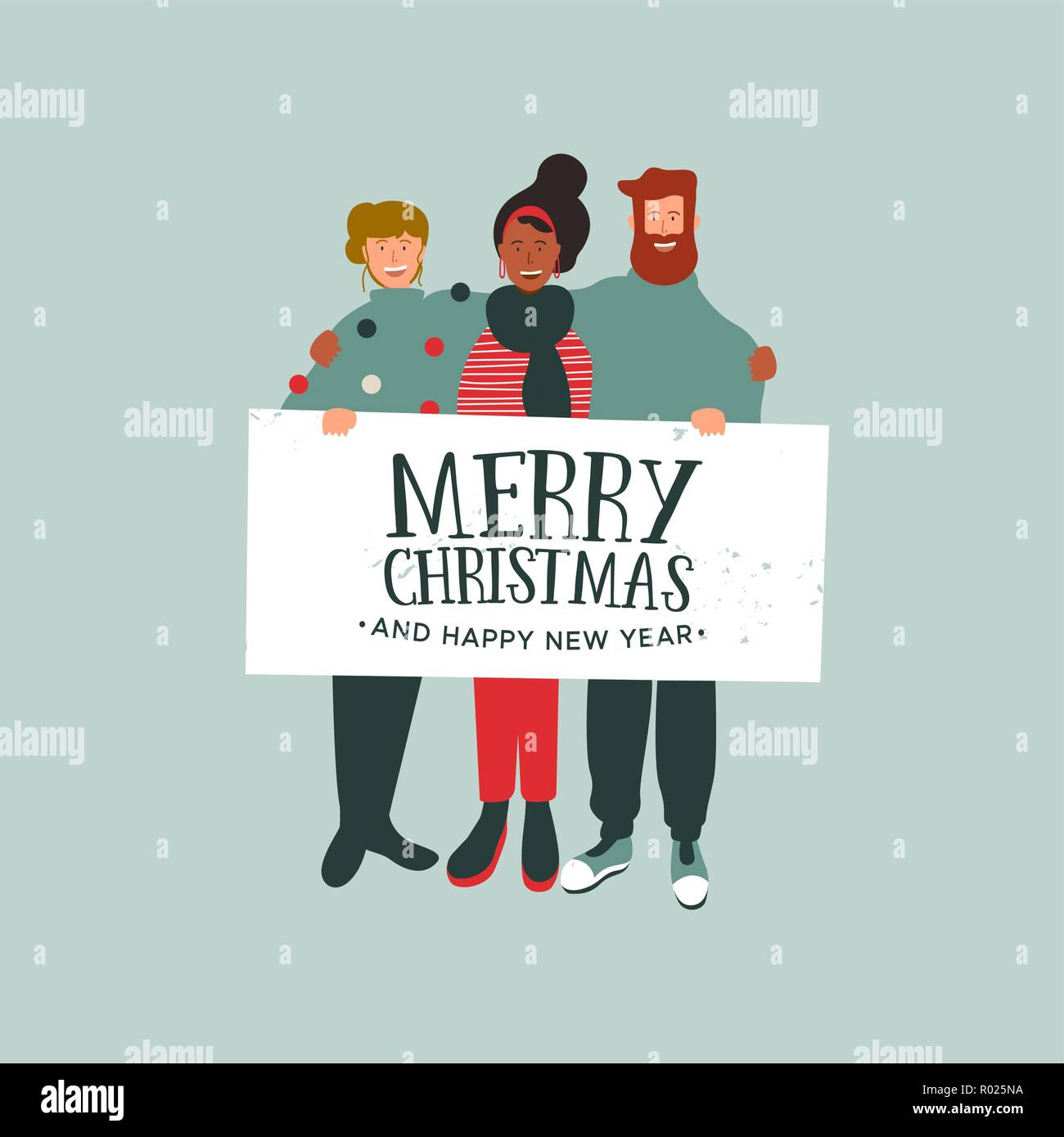 merry christmas and happy new year greeting card illustration young people friend group holding white banner sign with festive holiday message for se