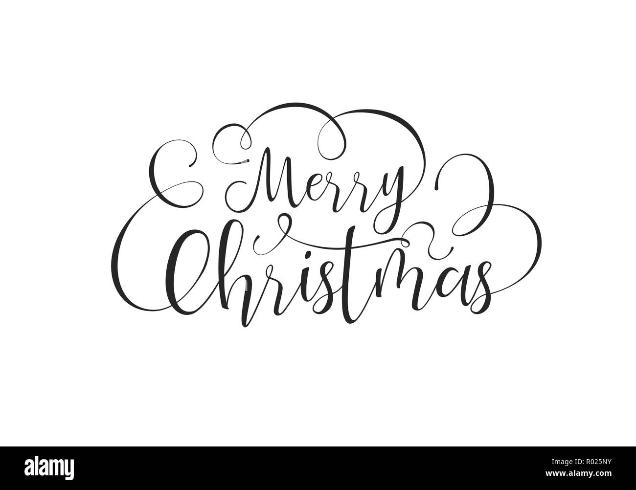 Merry Christmas Calligraphic Greeting Card Or Party