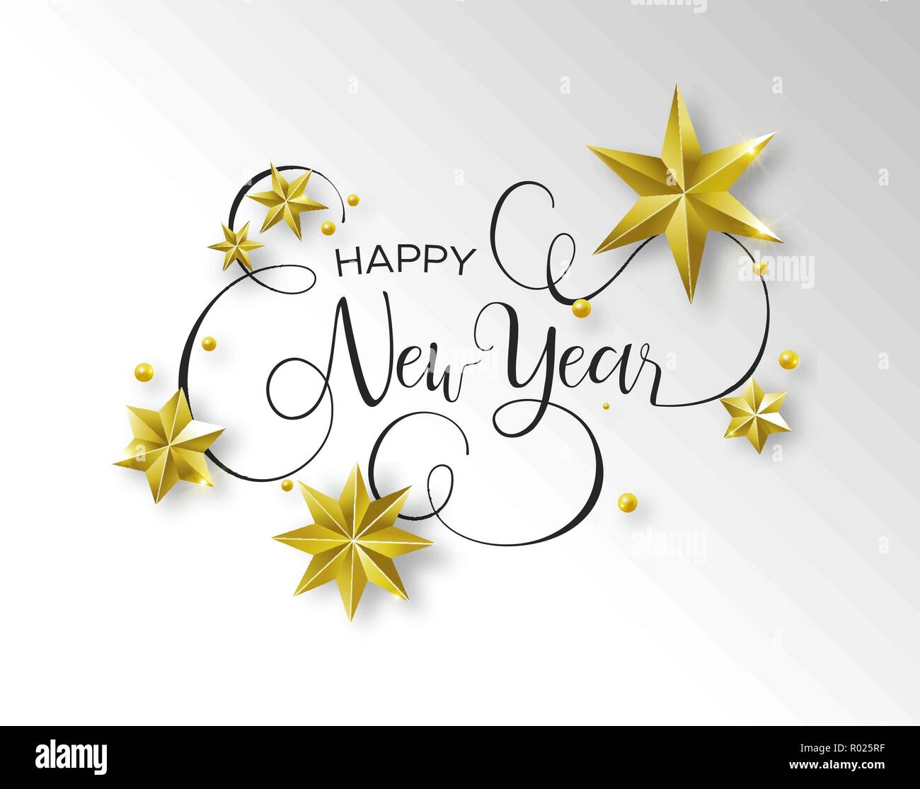 happy new year calligraphic greeting card or party invitation illustration handwritten typography text quote with festive 3d gold stars elegant holi