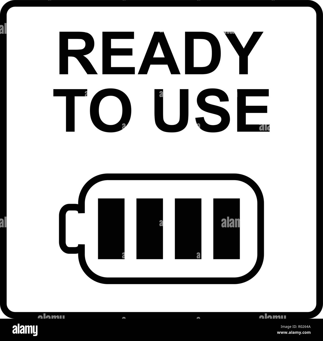 Fully charged battery with ready to use text - Stock Vector