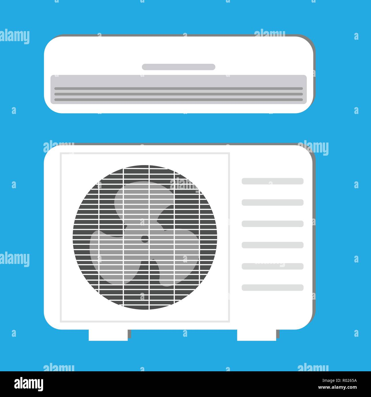 Air conditioner system: indoor and outdoor units - Stock Vector