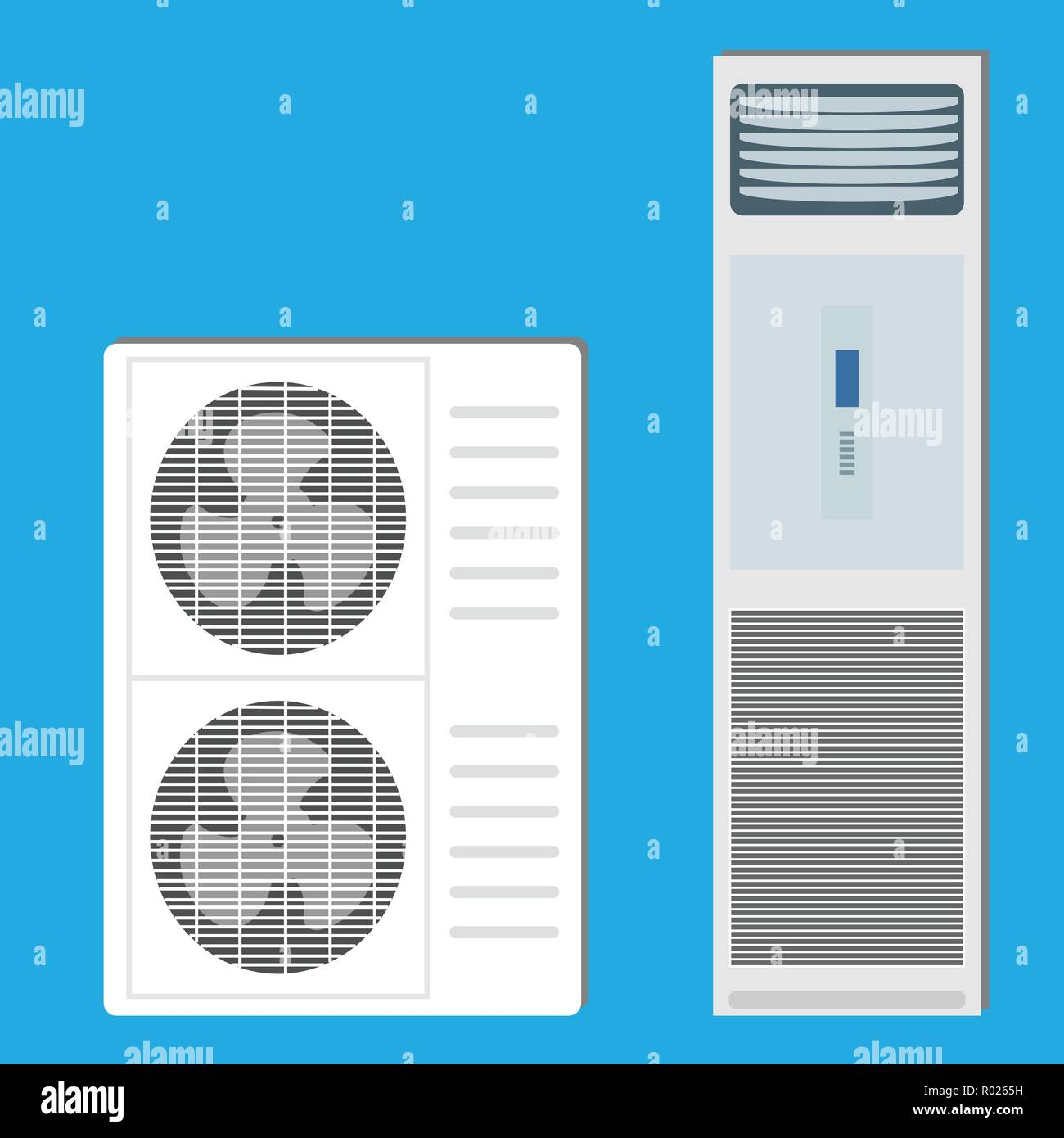 Air conditioner system: indoor unit and two outdoor units - Stock Vector
